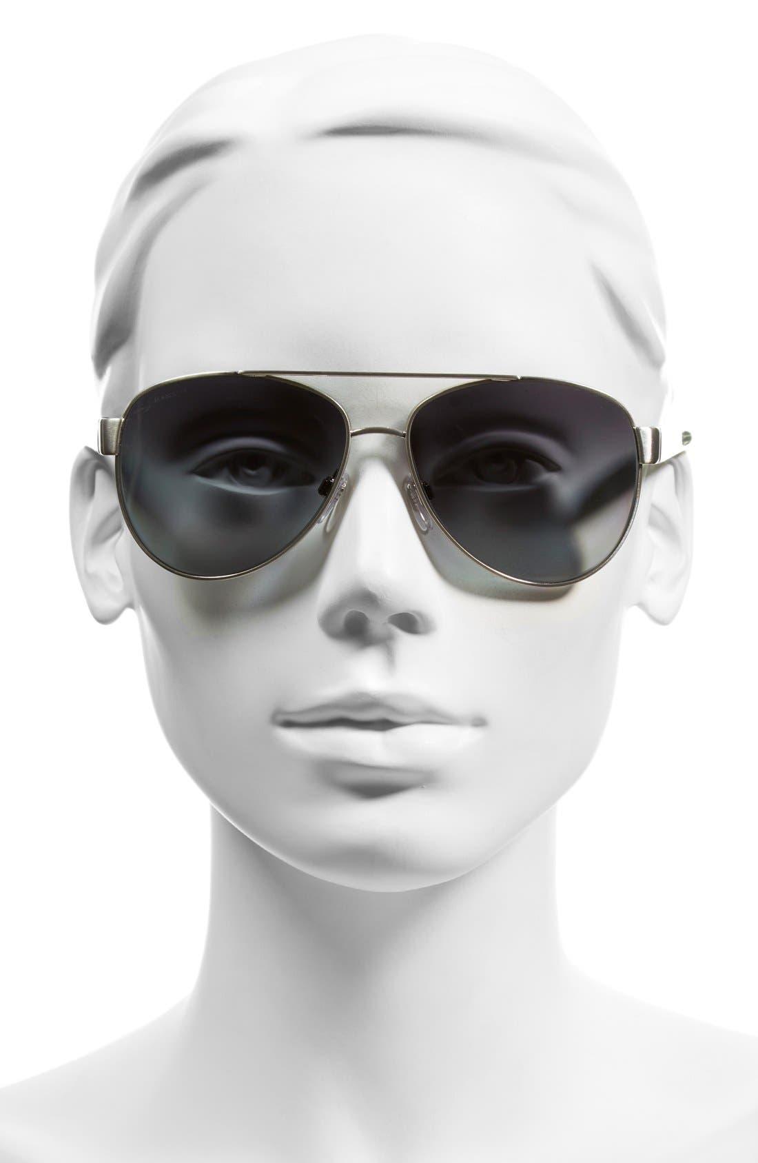 57mm Polarized Aviator Sunglasses,                             Alternate thumbnail 4, color,