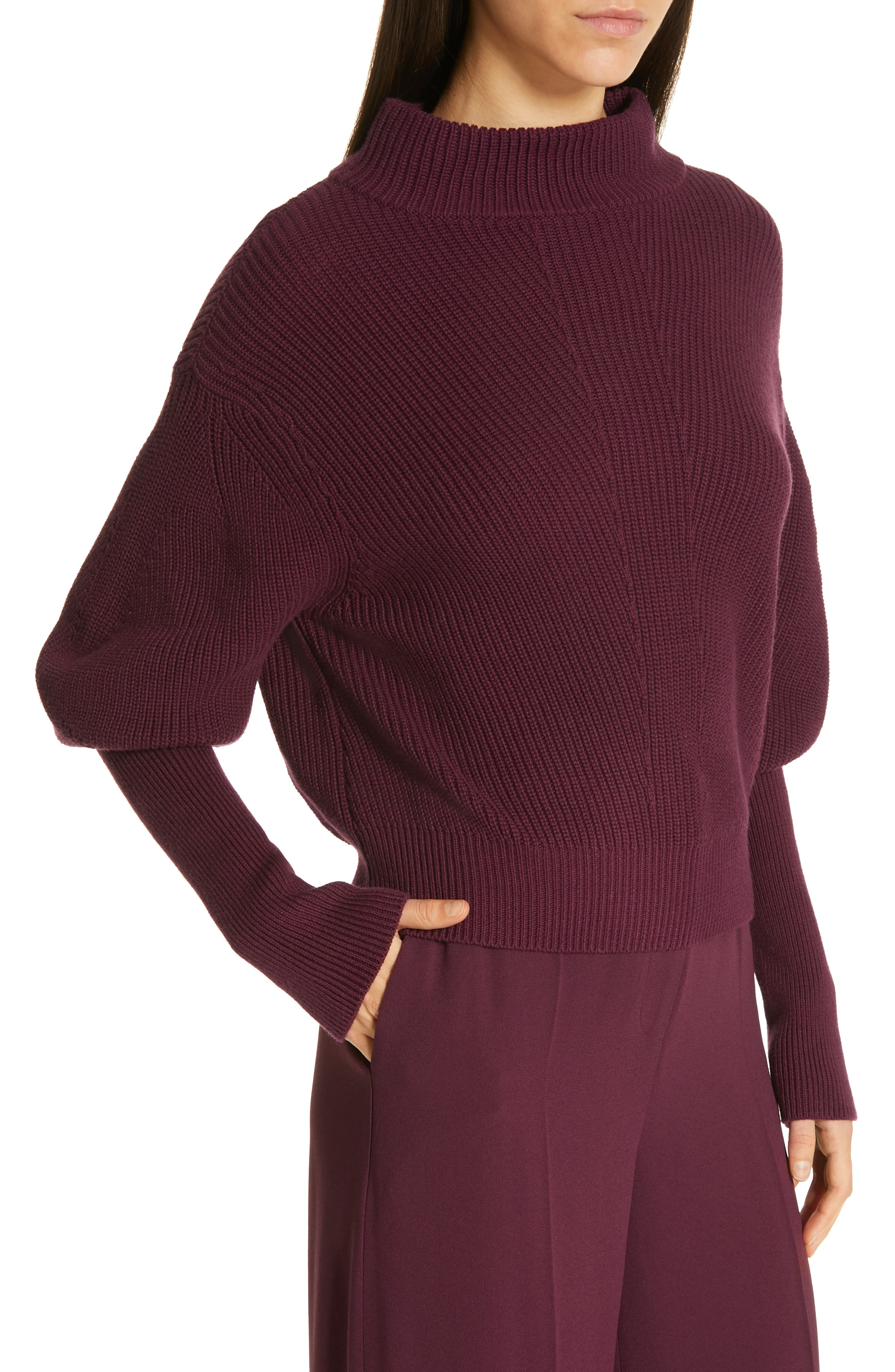Flix Balloon Sleeve Sweater,                             Alternate thumbnail 4, color,                             DARK BERRY