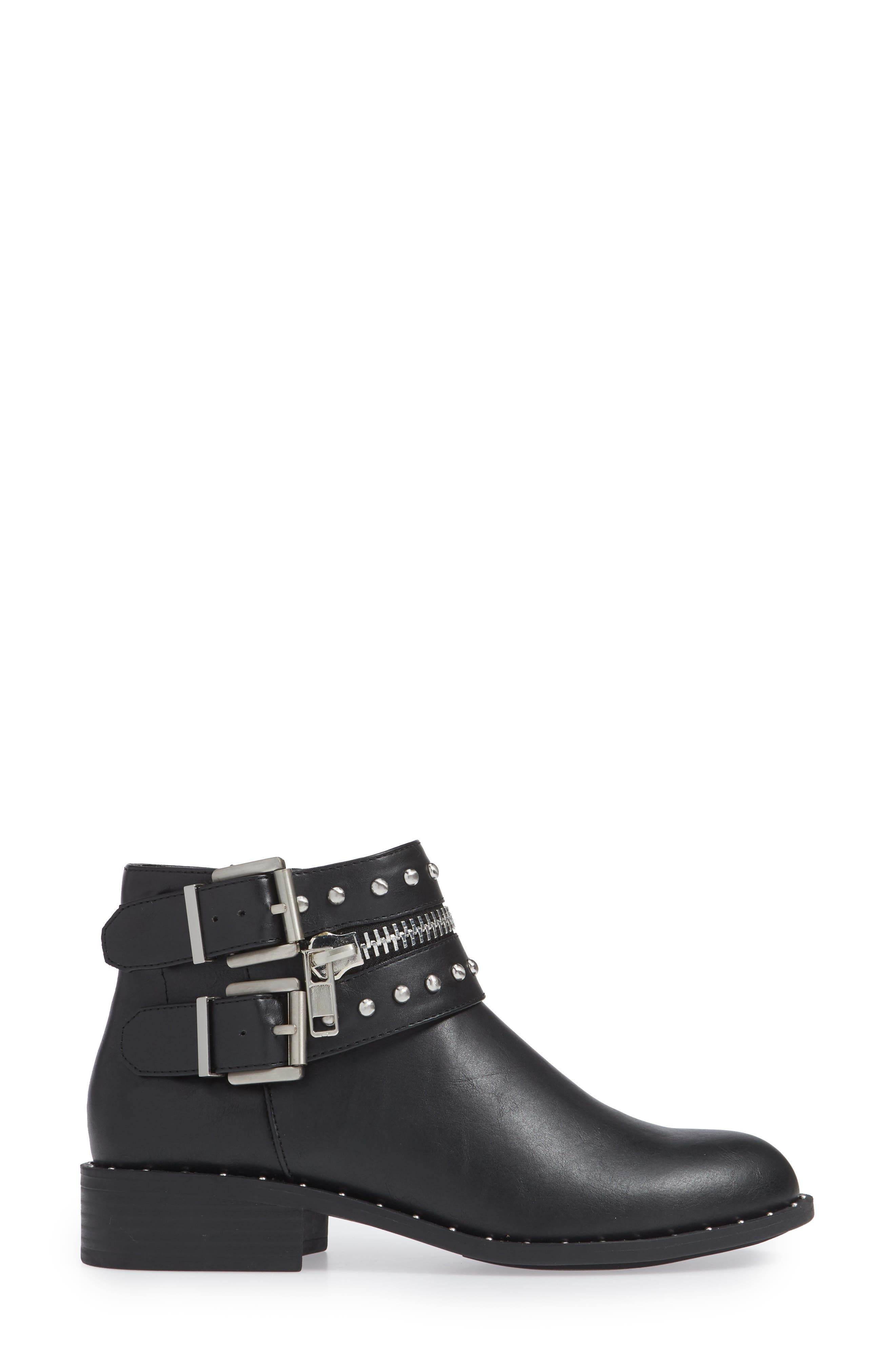 Thief Studded Bootie,                             Alternate thumbnail 3, color,                             BLACK SYNTHETIC