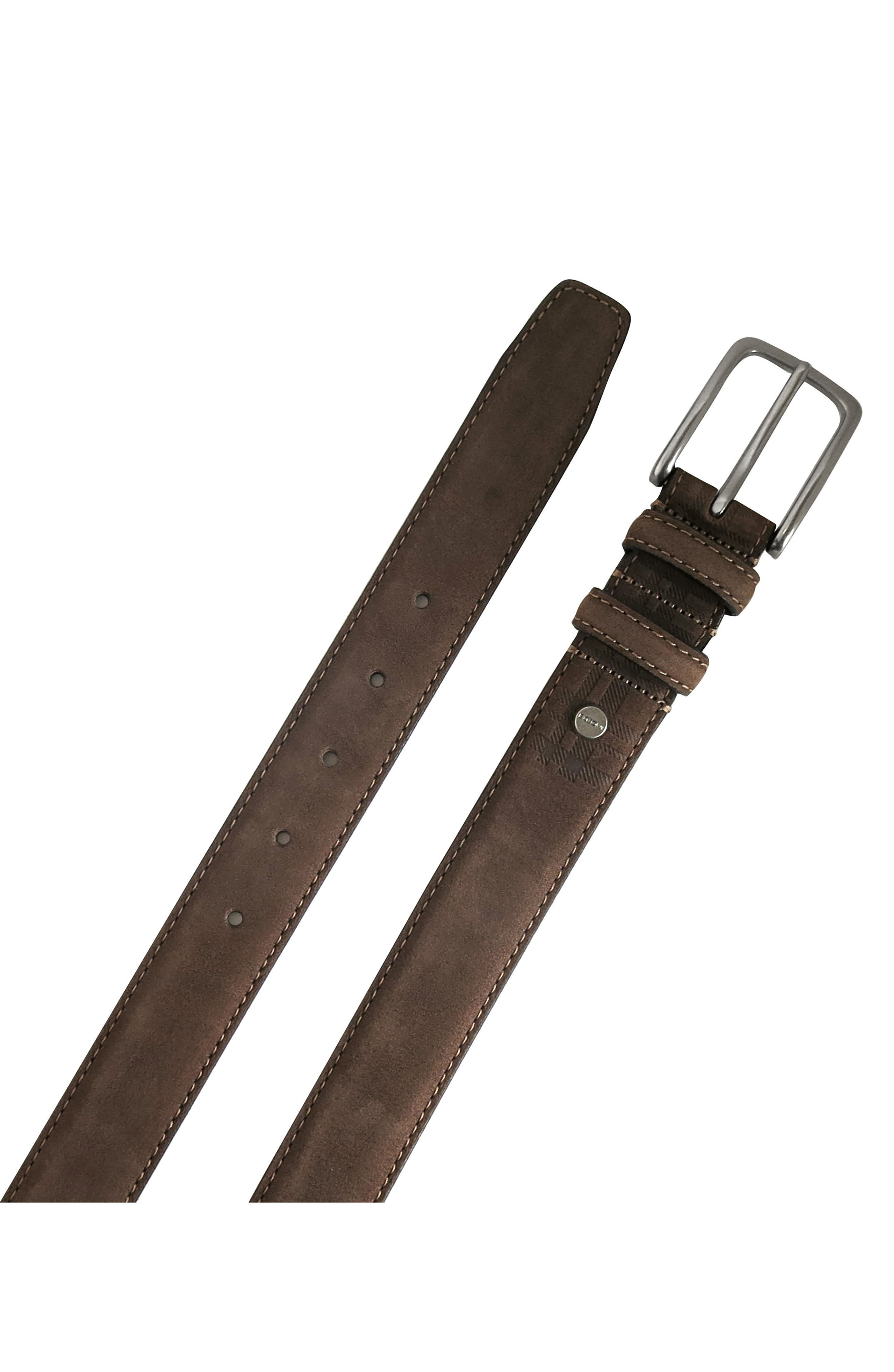 'Tyler' Double Stitched Suede Belt,                             Alternate thumbnail 2, color,                             BROWN