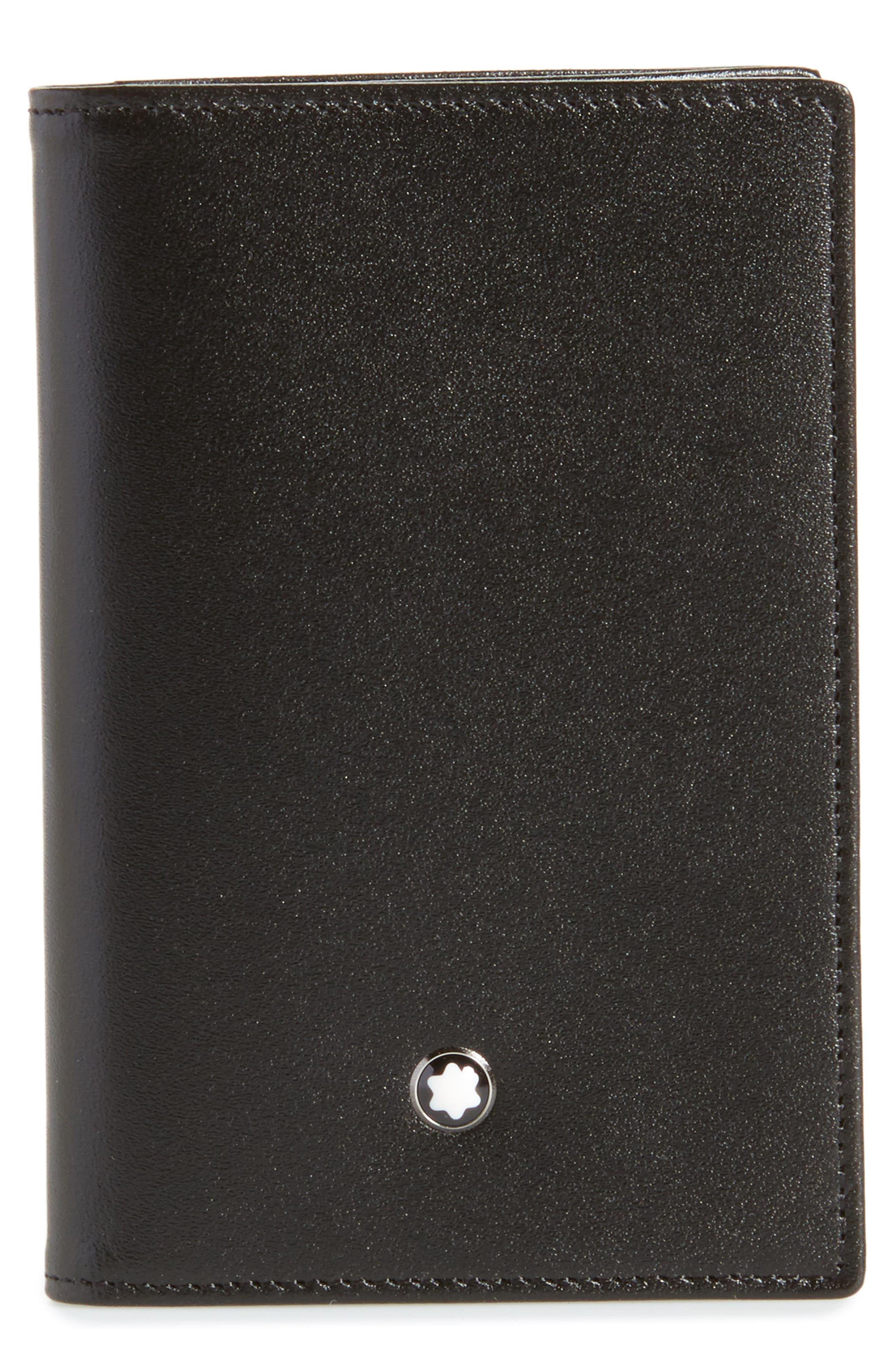 Meisterstück Leather Card Case,                         Main,                         color, BLACK
