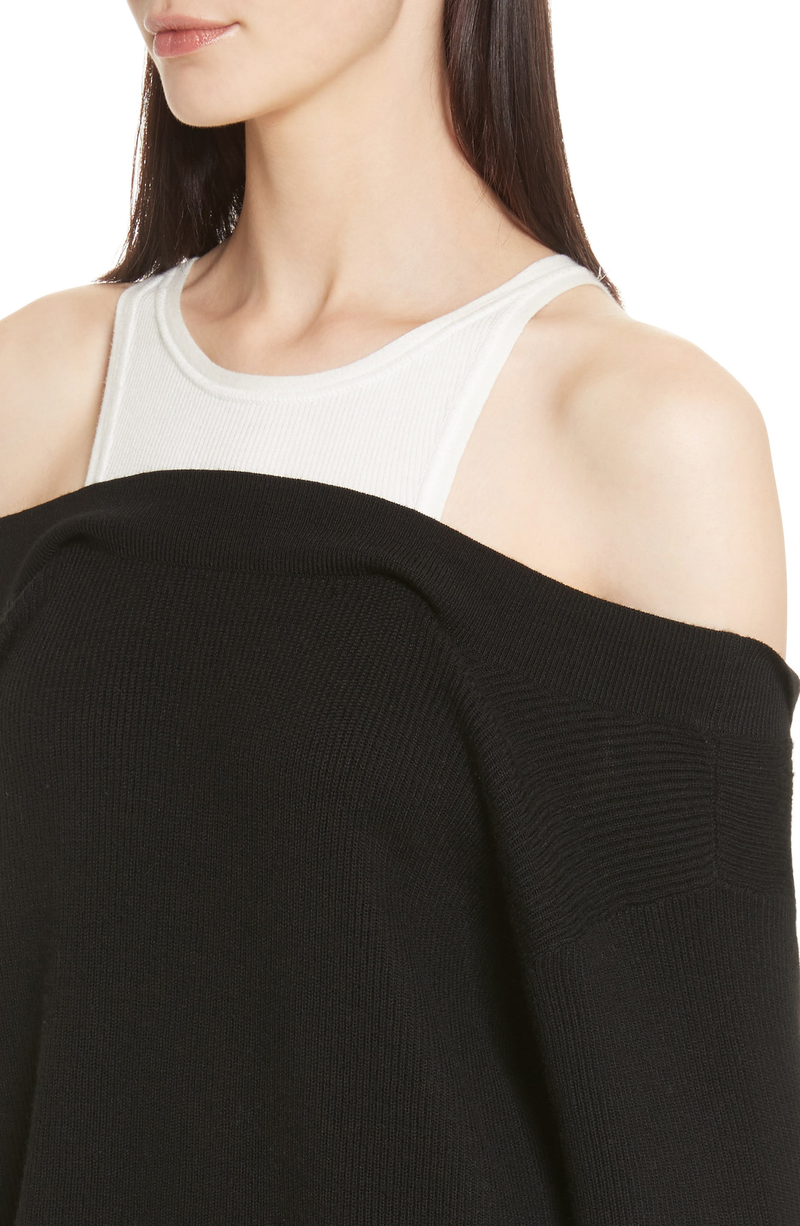 T by Alexander Wang Bi-Layer Knit Dress with Inner Tank,                             Alternate thumbnail 4, color,                             018