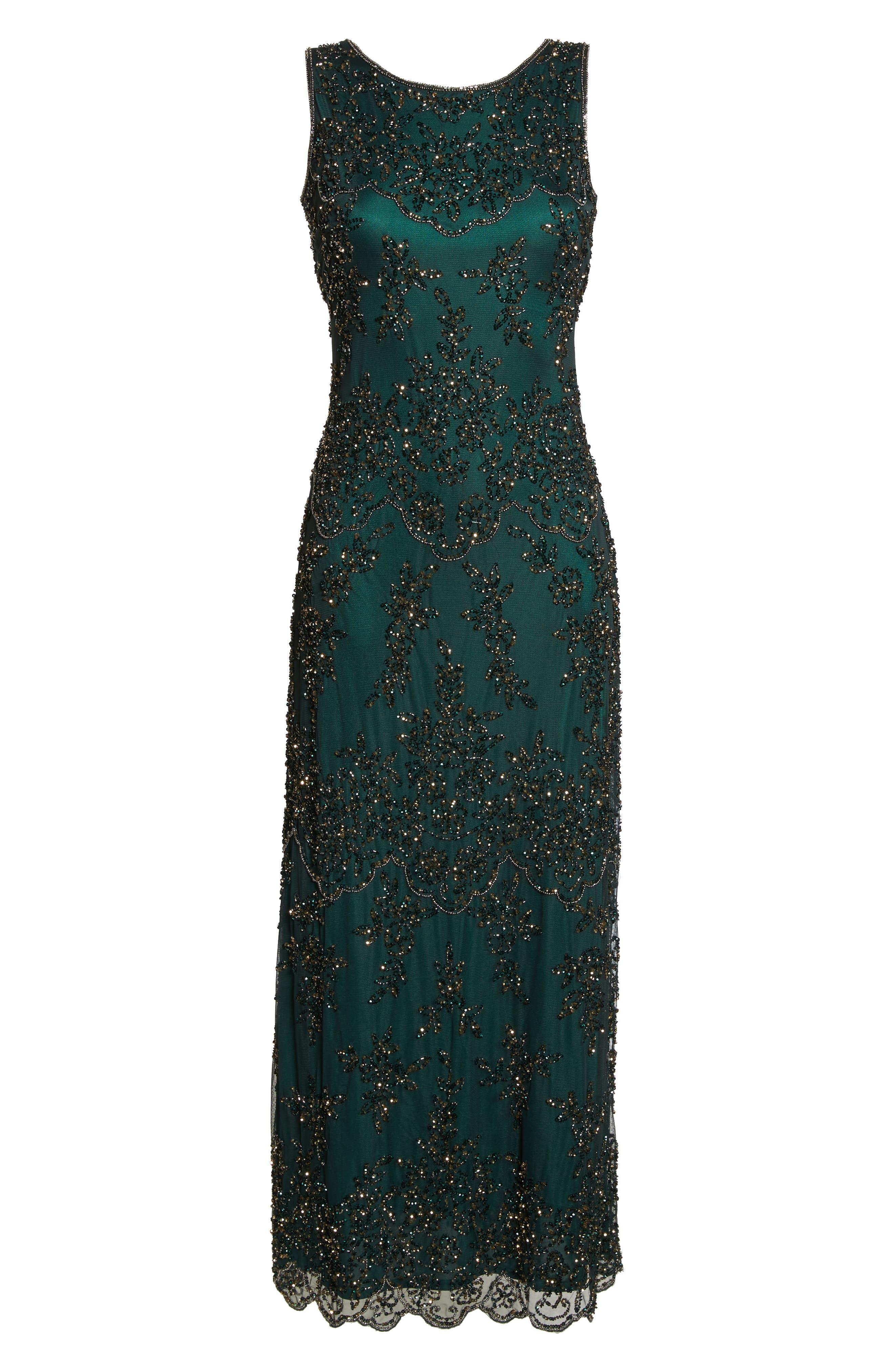 Embellished Mesh Gown,                             Alternate thumbnail 7, color,                             HUNTER