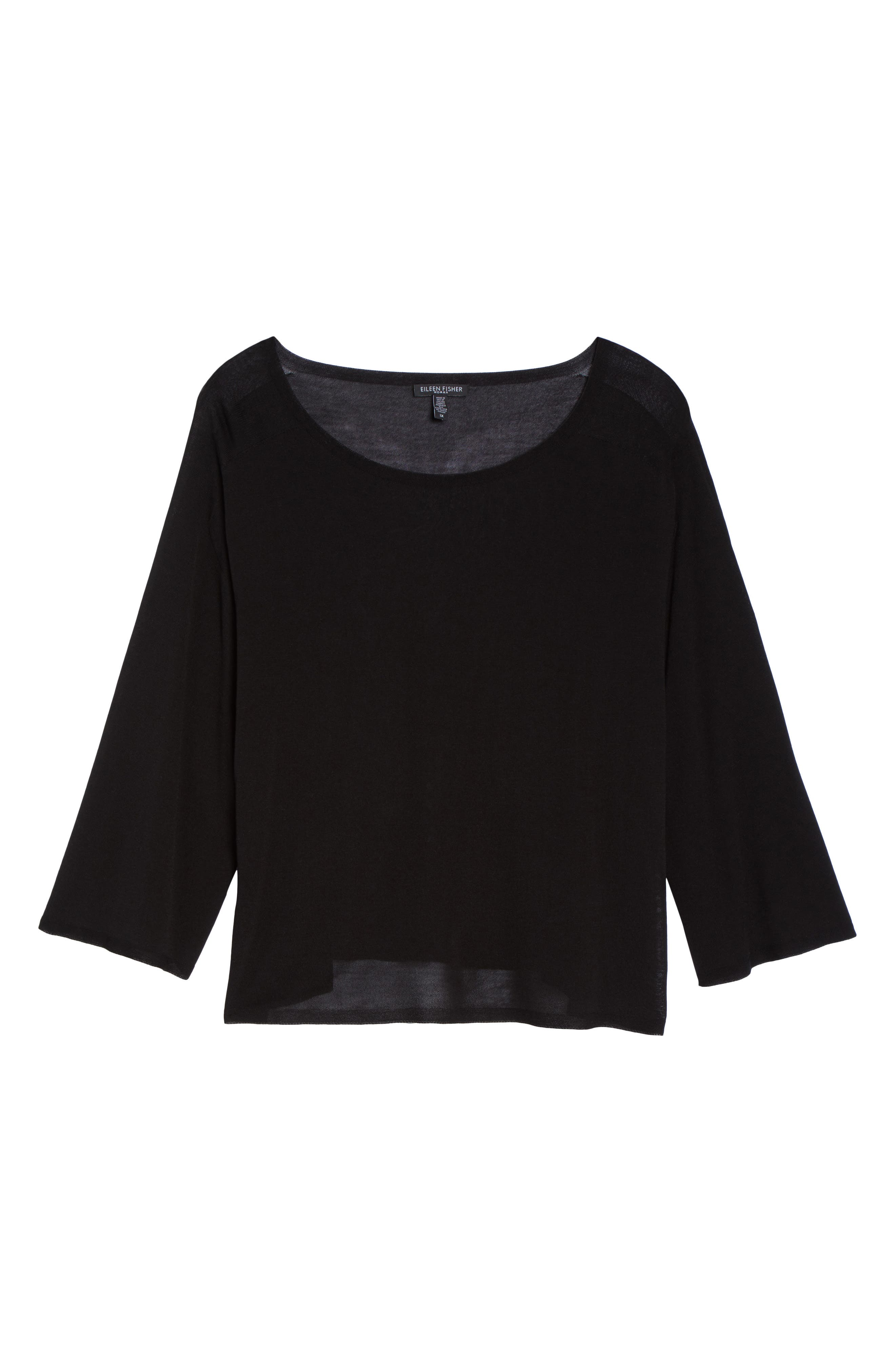 Tencel<sup>®</sup> Lyocell Lyocell Knit Sweater,                             Alternate thumbnail 6, color,                             001