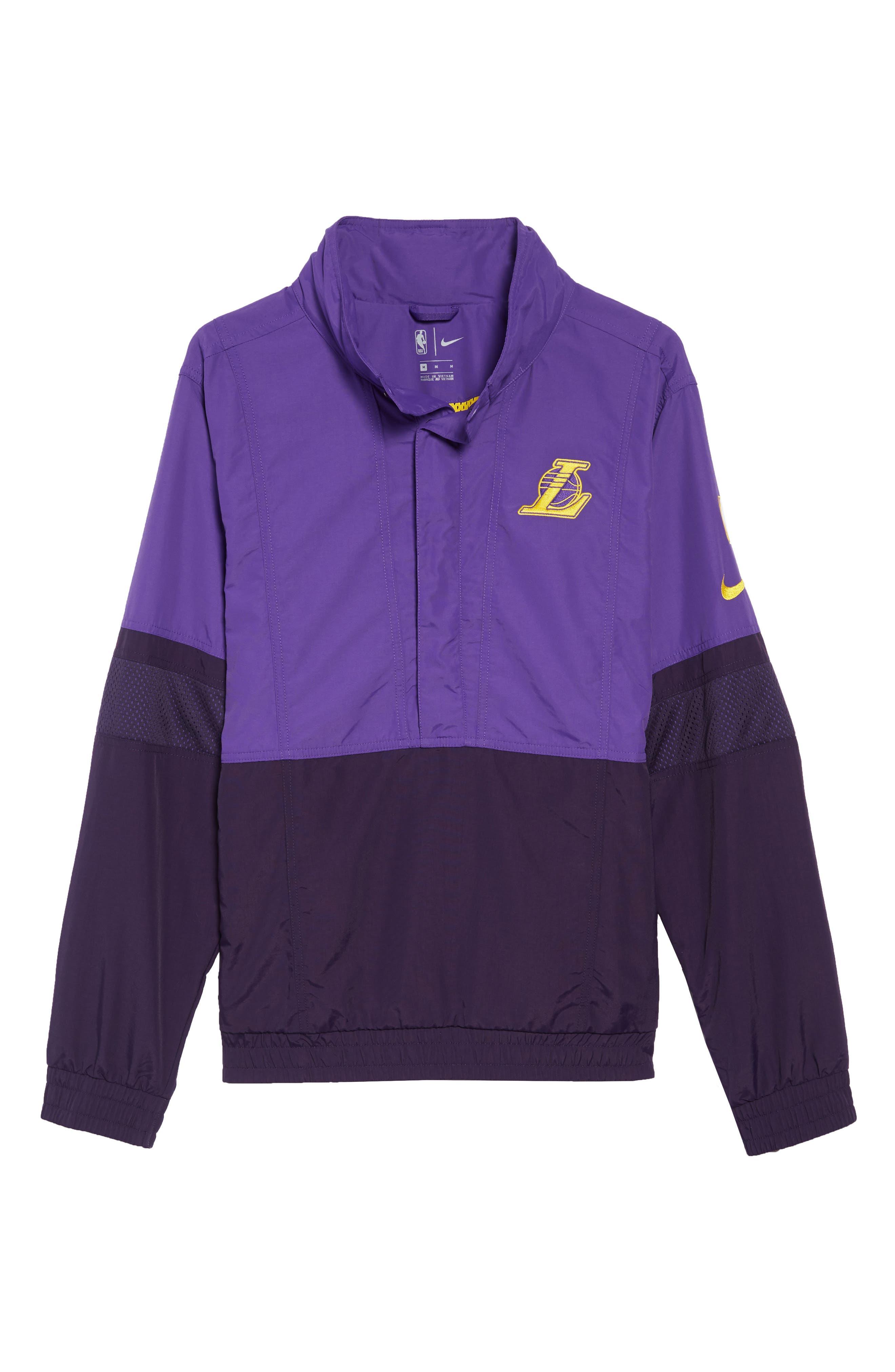 Los Angeles Lakers Courtside Warm-Up Jacket,                             Alternate thumbnail 7, color,                             FIELD PURPLE/PURPLE/ AMARILLO