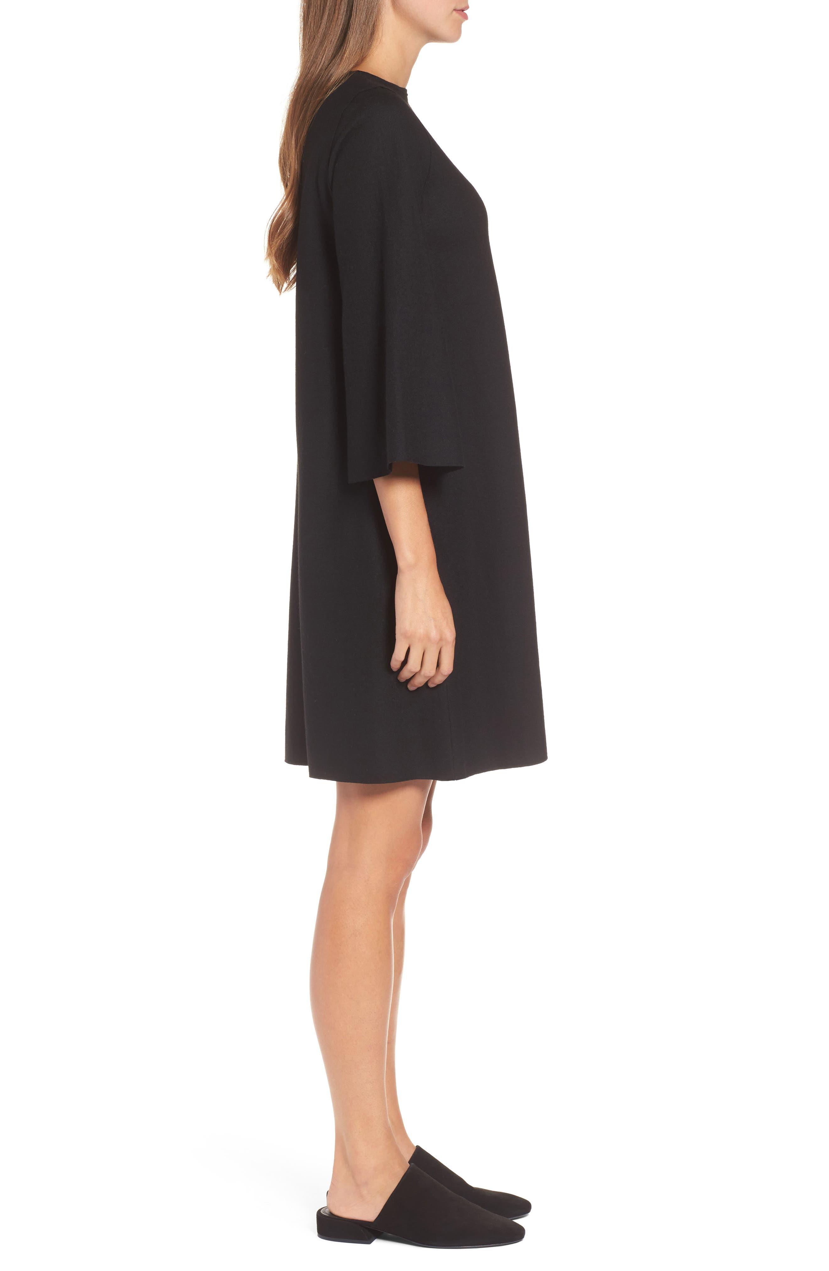 Bell Sleeve Dress,                             Alternate thumbnail 3, color,                             001