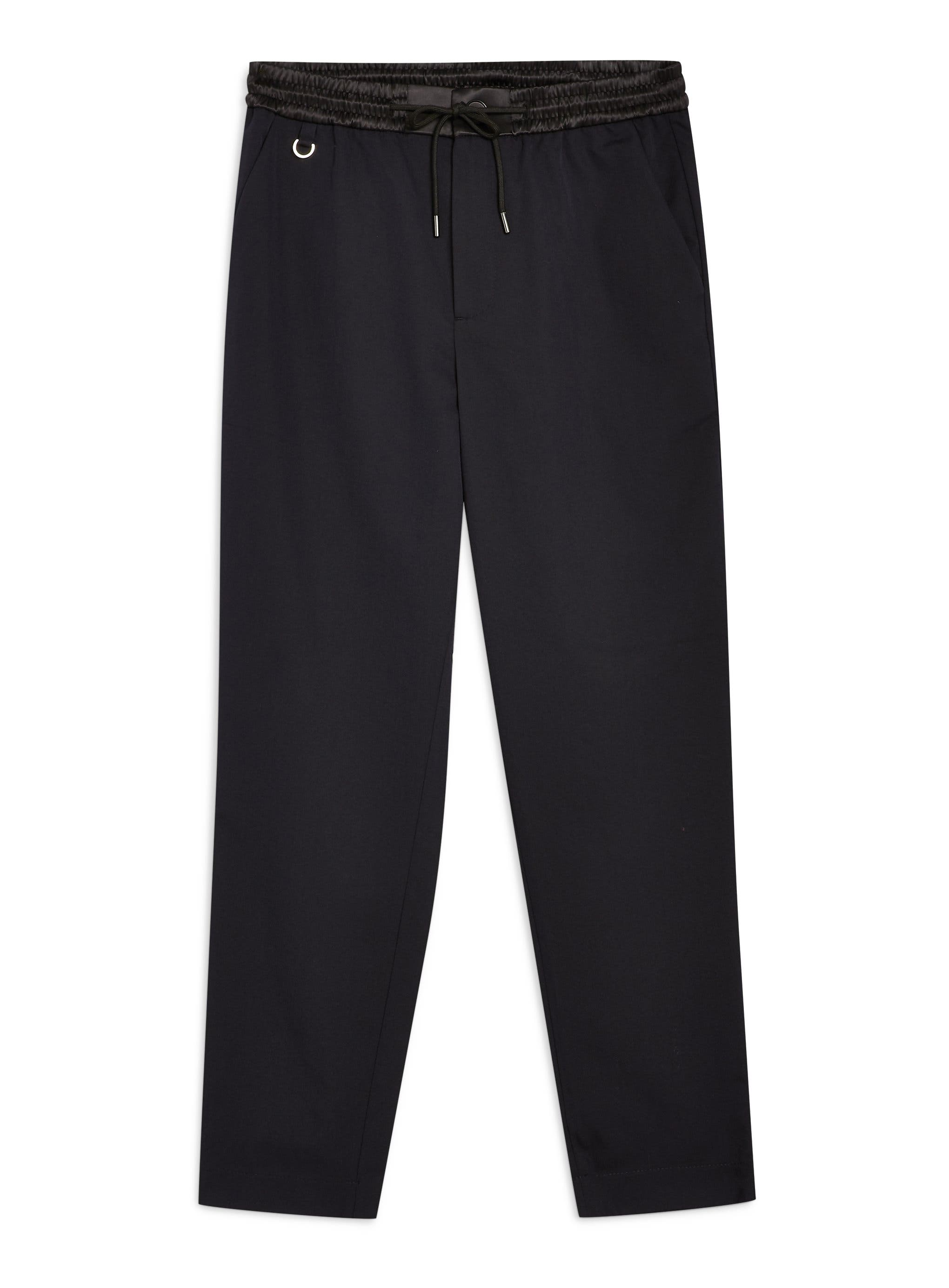 TOPMAN,                             Relaxed Cropped Trousers,                             Alternate thumbnail 4, color,                             NAVY BLUE