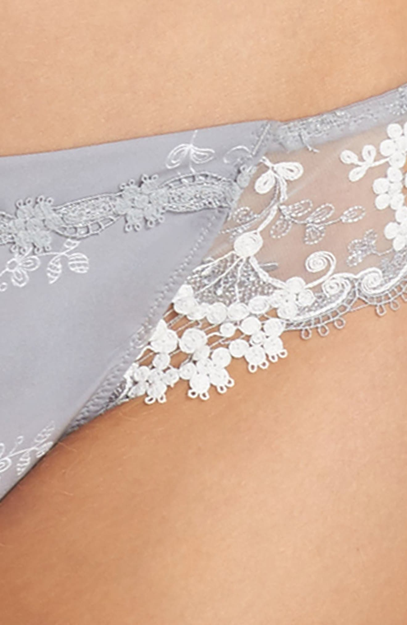 'Wish' Embroidered Tanga Thong,                             Alternate thumbnail 4, color,                             020