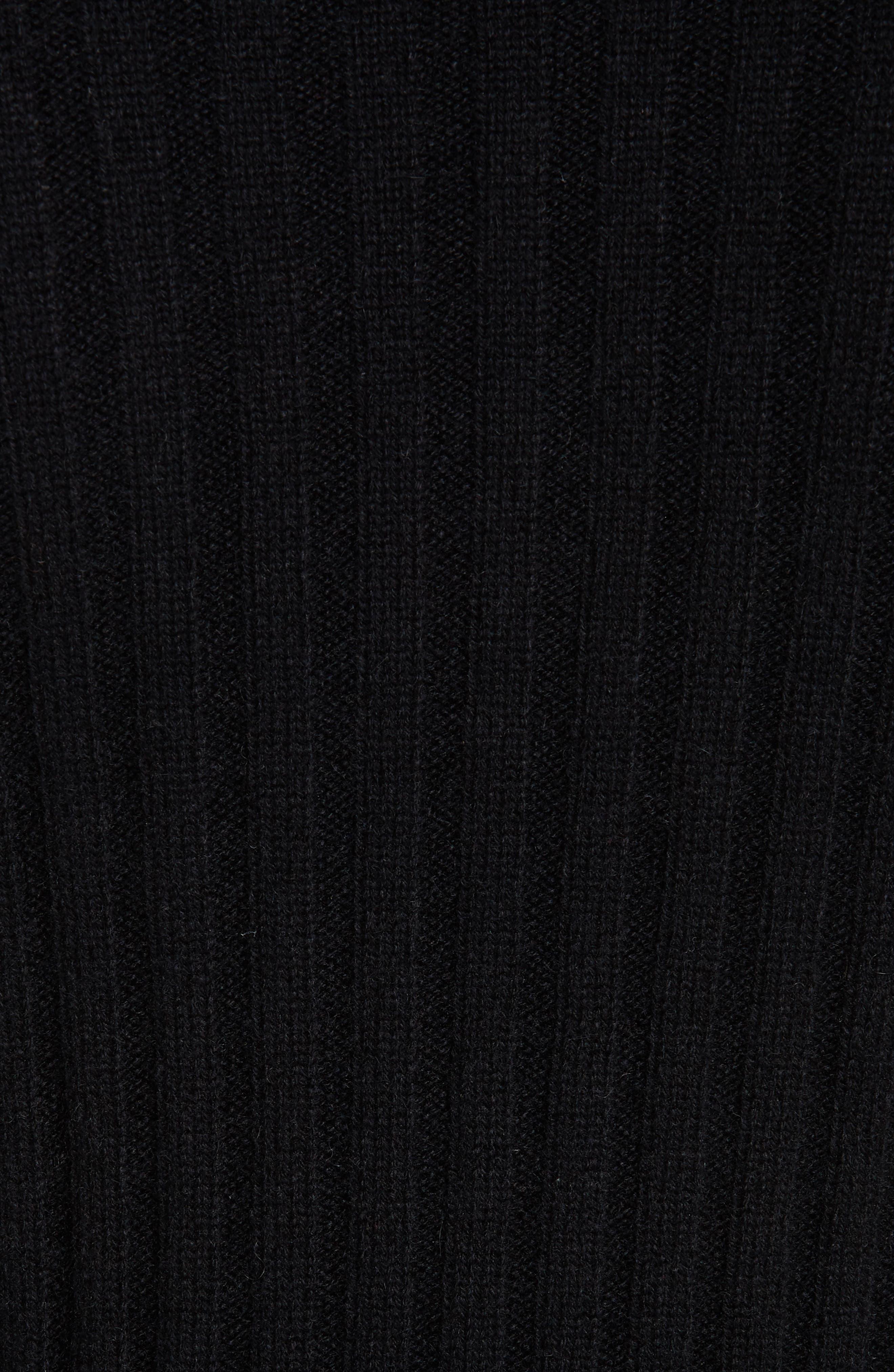Rib Knit Cashmere Tunic,                             Alternate thumbnail 5, color,                             BLACK