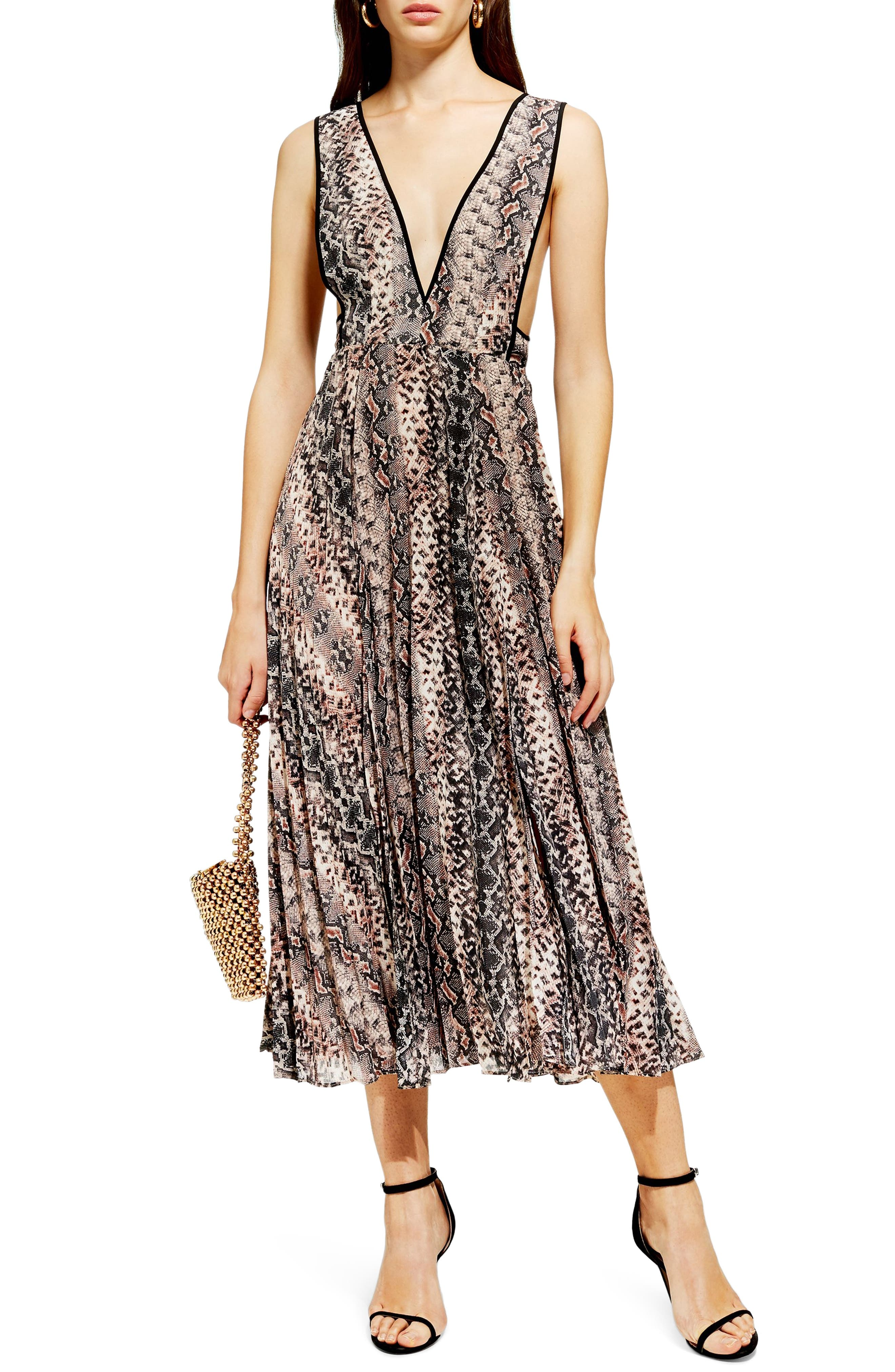 Snake Print Pleated Dress,                         Main,                         color, PINK MULTI