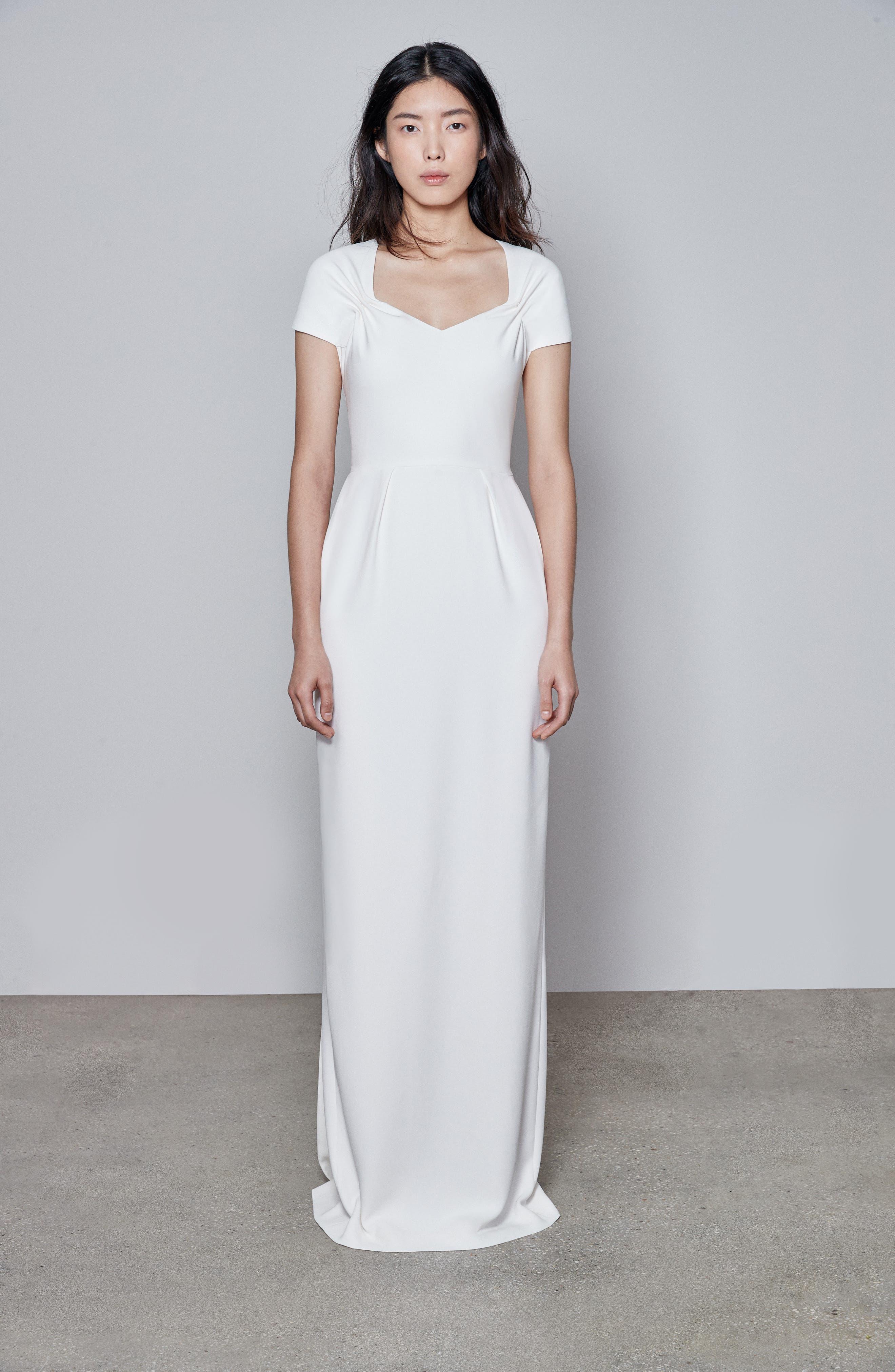 F18 Rose Cap Sleeve Wedding Dress,                             Main thumbnail 1, color,                             PURE WHITE