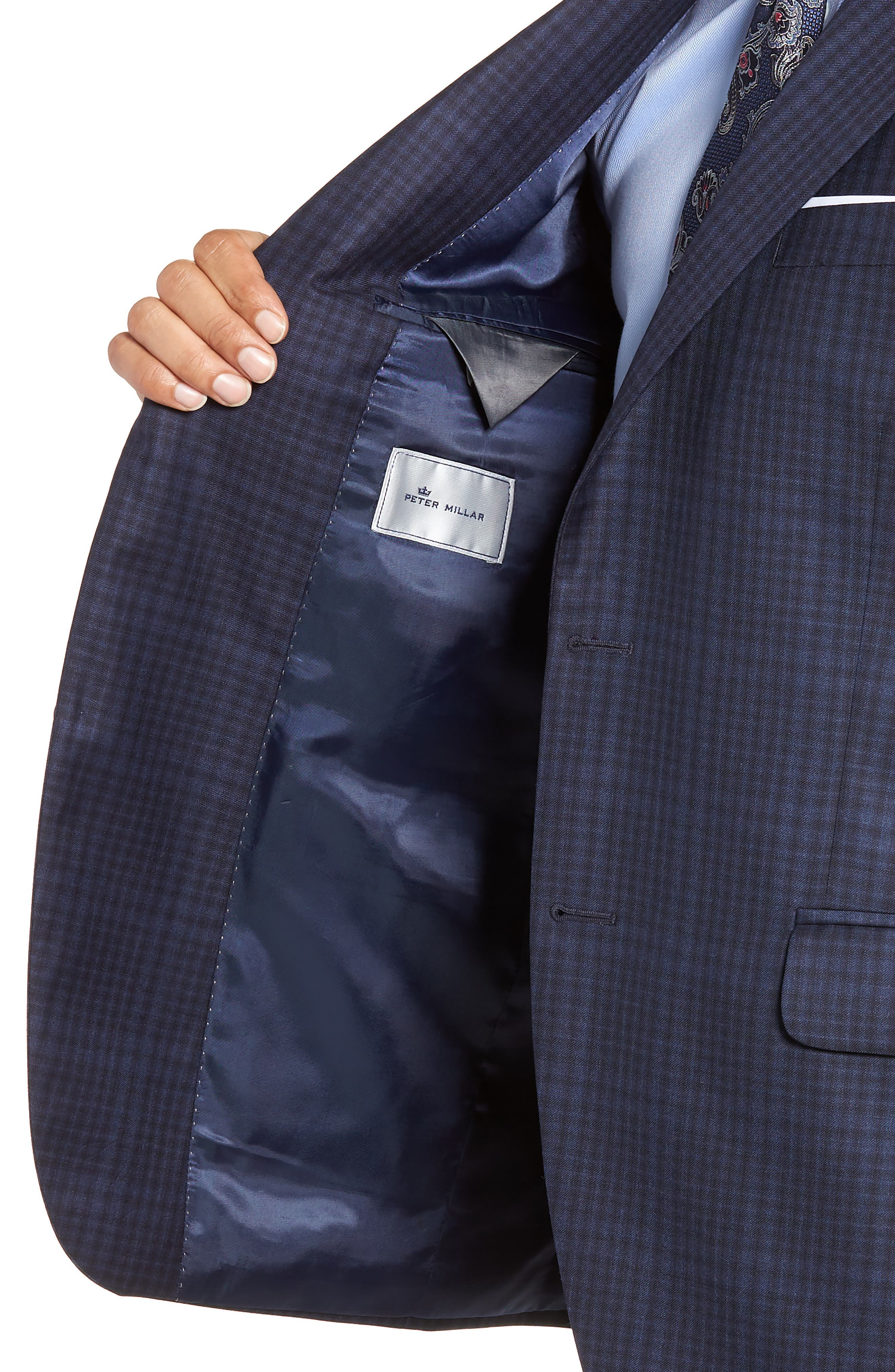Classic Fit Plaid Wool Sport Coat,                             Alternate thumbnail 4, color,                             NAVY