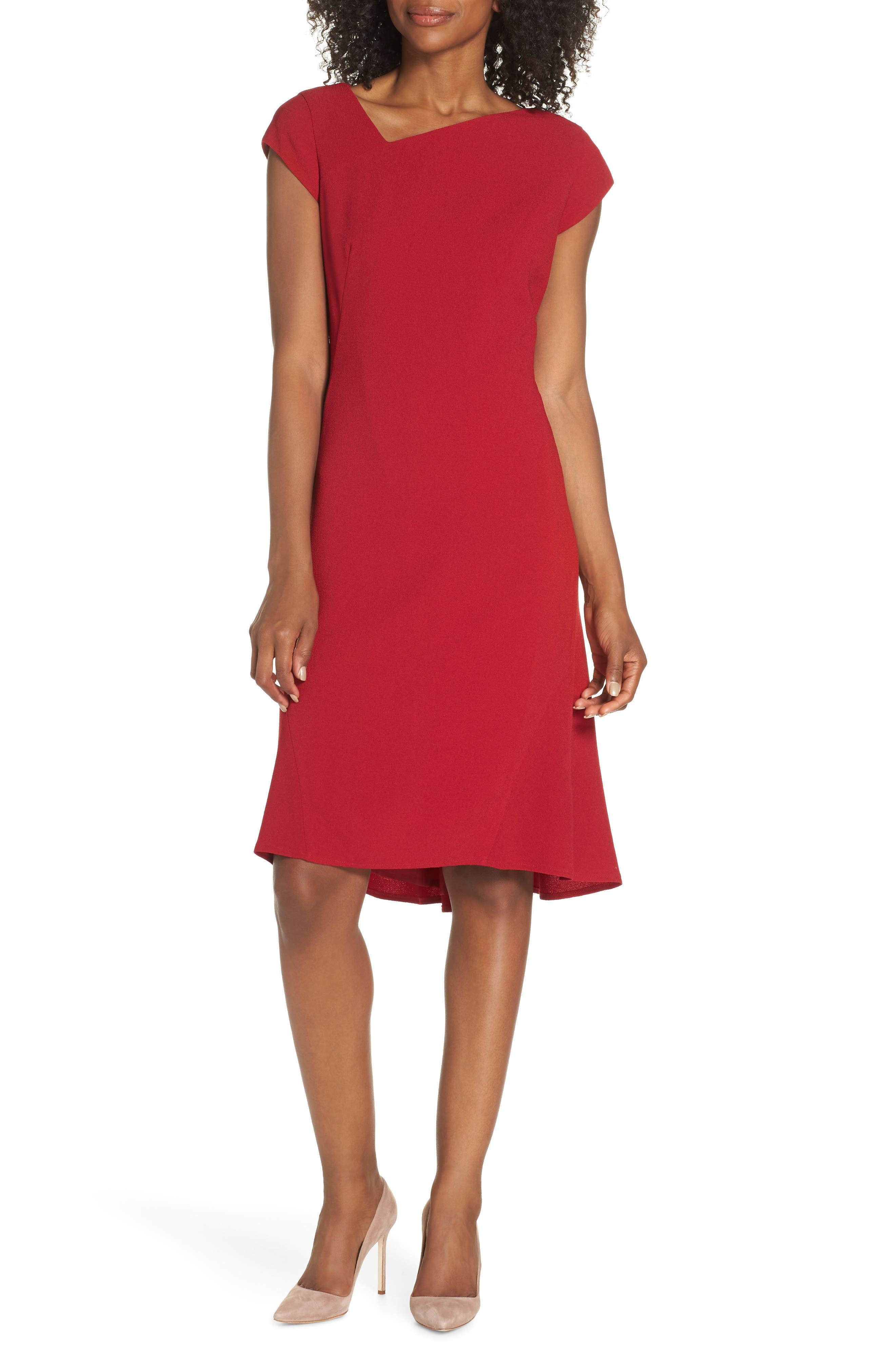 Asymmetrical Neck Fit & Flare Dress,                             Main thumbnail 1, color,                             GARNET