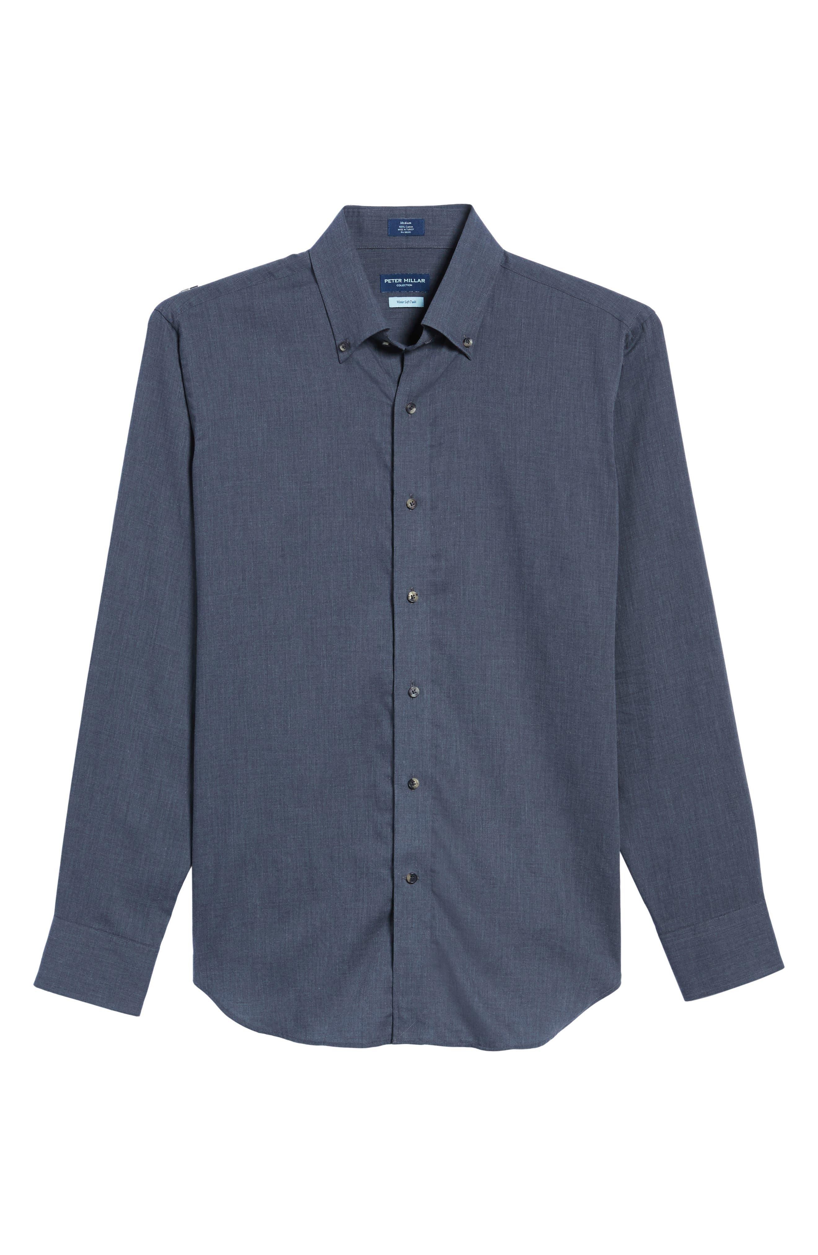 Peter Millar Regular Fit Mélange Herringbone Sport Shirt,                             Alternate thumbnail 6, color,                             039