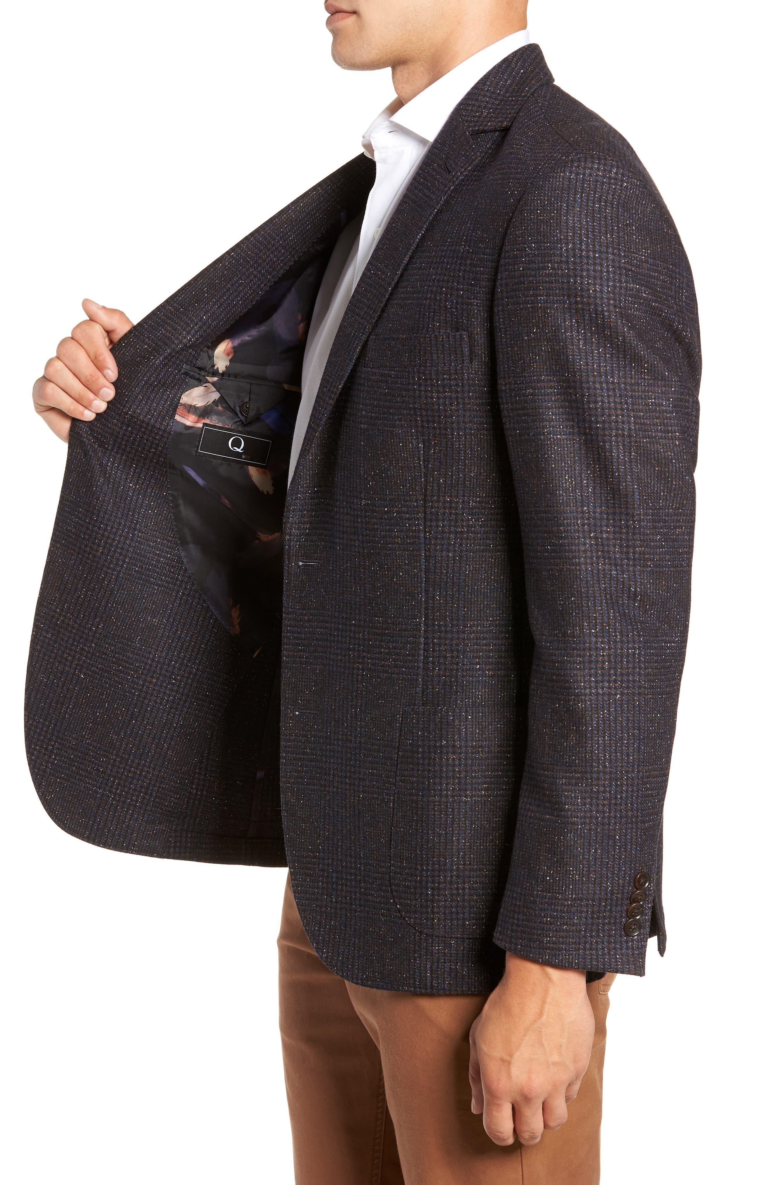 Regular Fit Wool & Silk Blend Blazer,                             Alternate thumbnail 3, color,                             BROWN