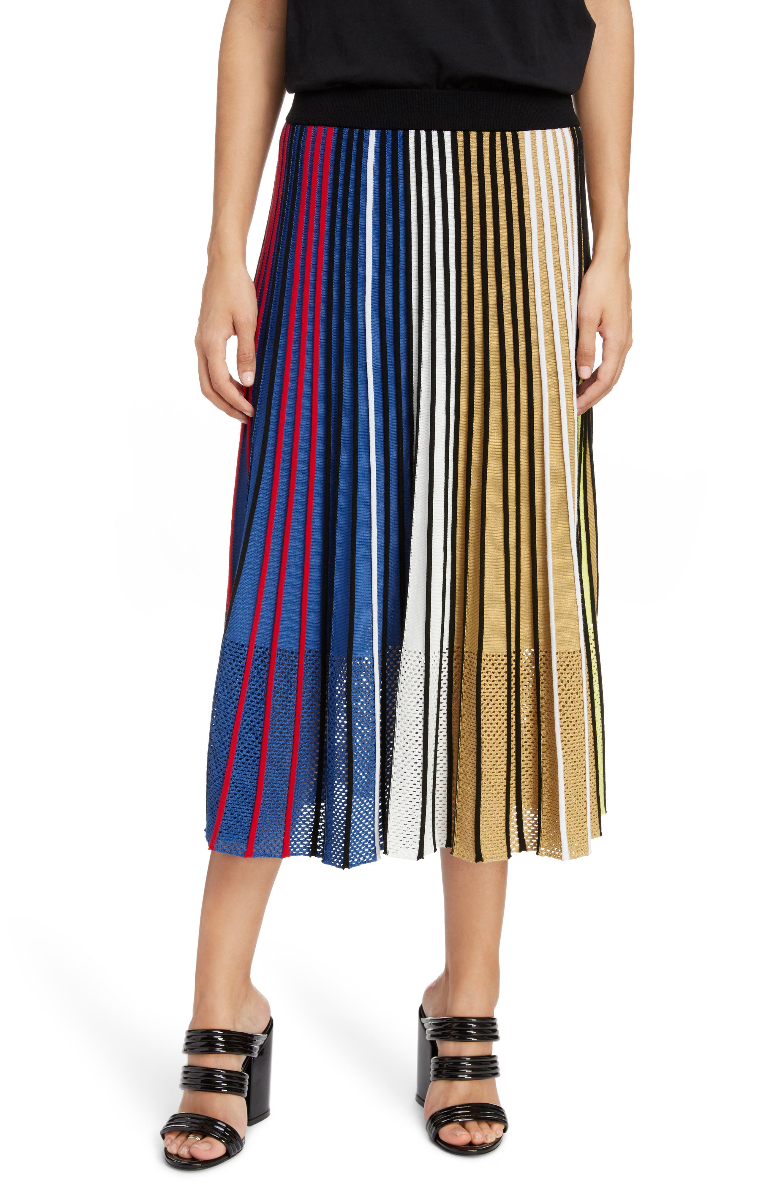 Pleated Rib Knit Skirt, Main, color, 253