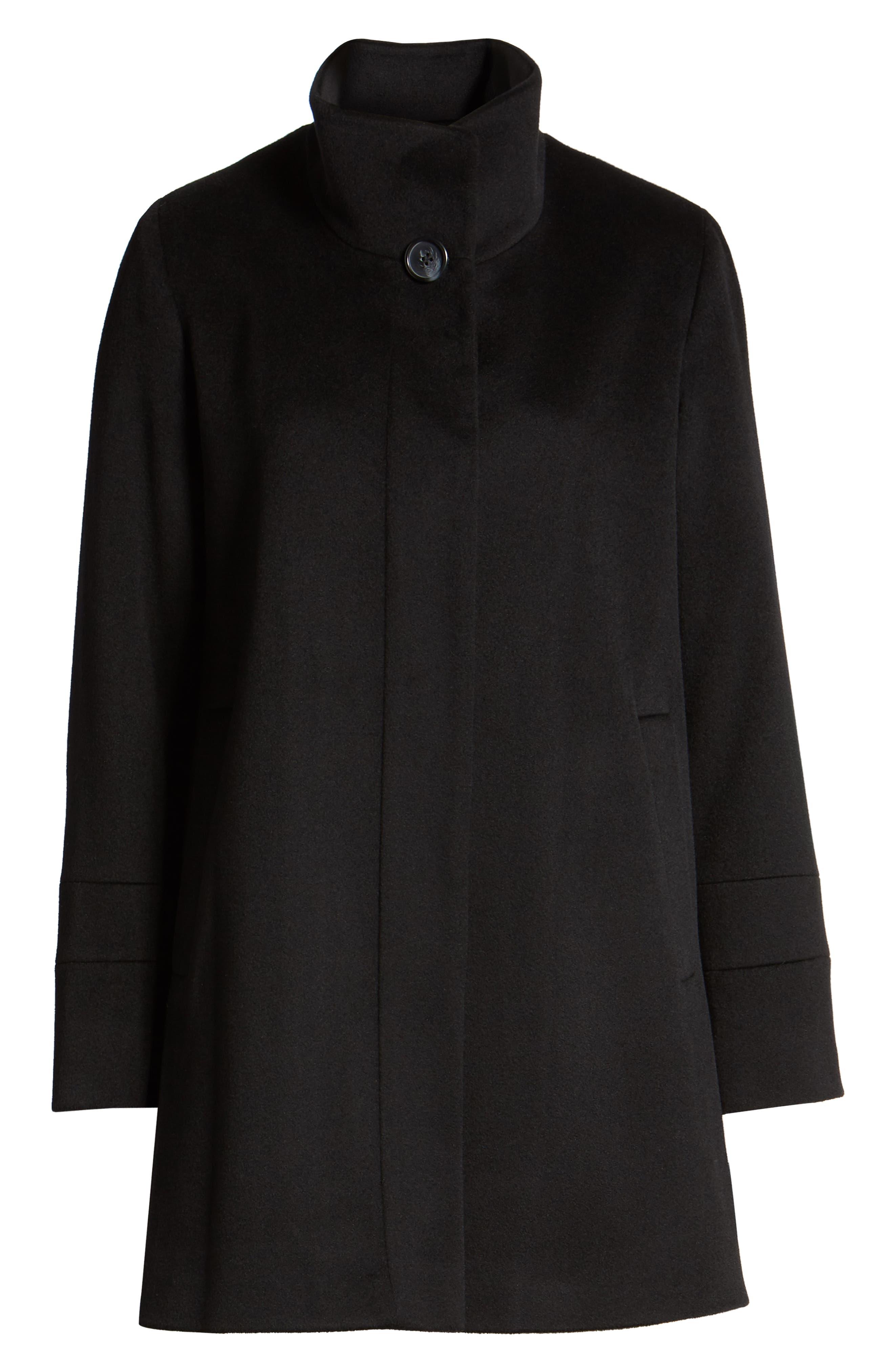 Placket Front Wool Car Coat,                             Alternate thumbnail 6, color,                             BLACK
