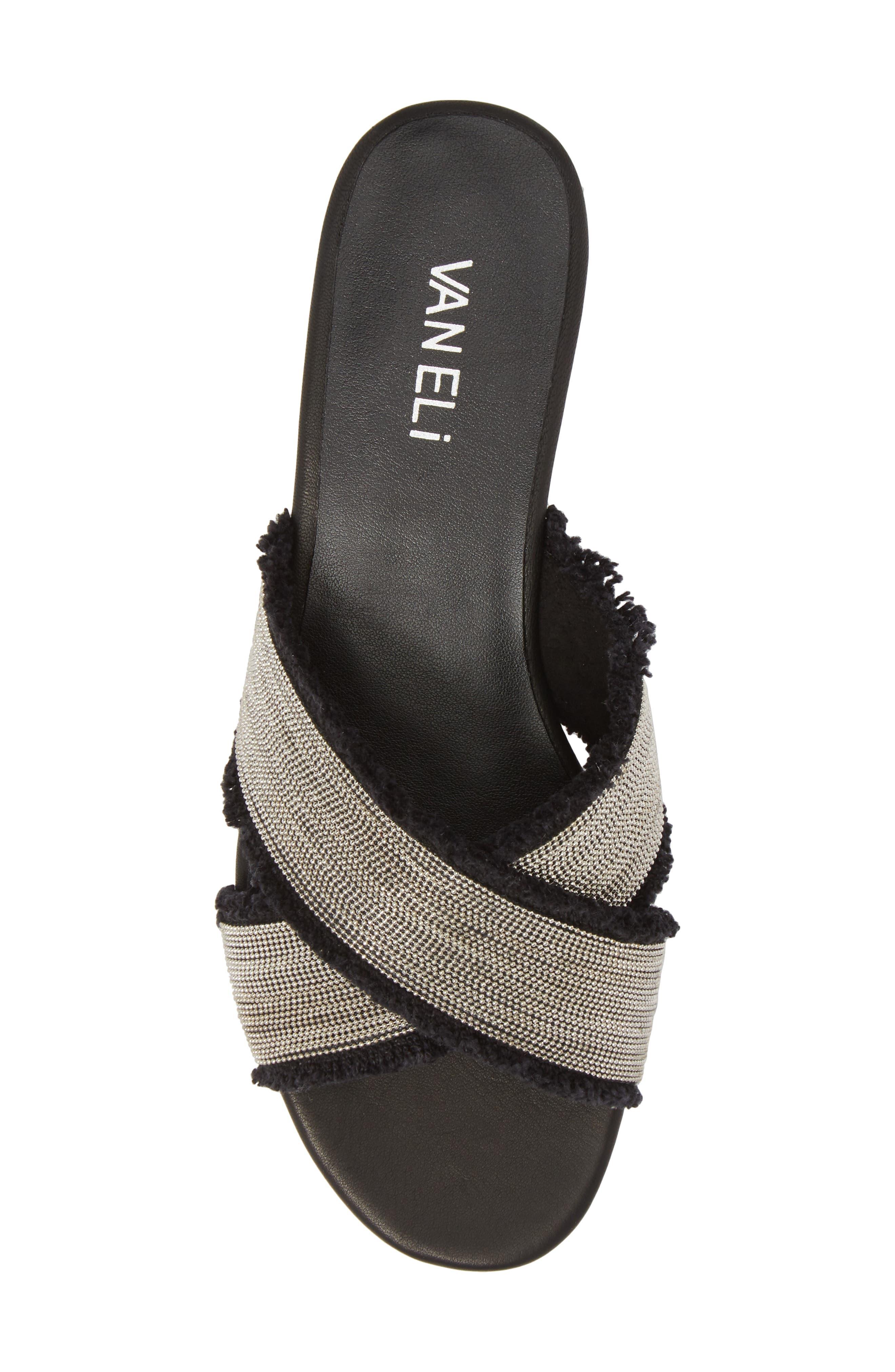 Baret Embellished Cross Strap Slide Sandal,                             Alternate thumbnail 5, color,                             BLACK FABRIC