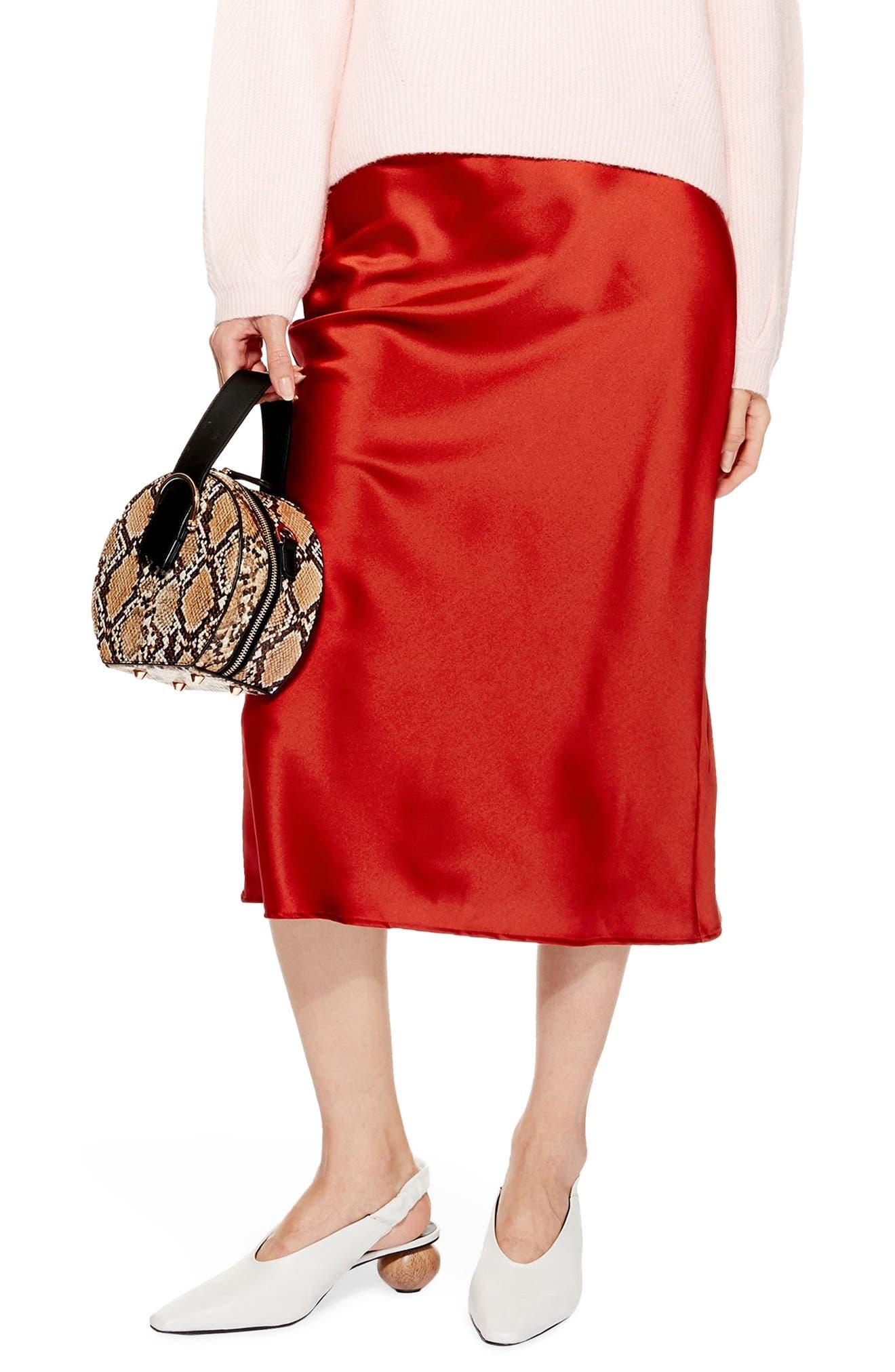 Petite Topshop Satin Midi Skirt, P US (fits like 0-2P) - Red