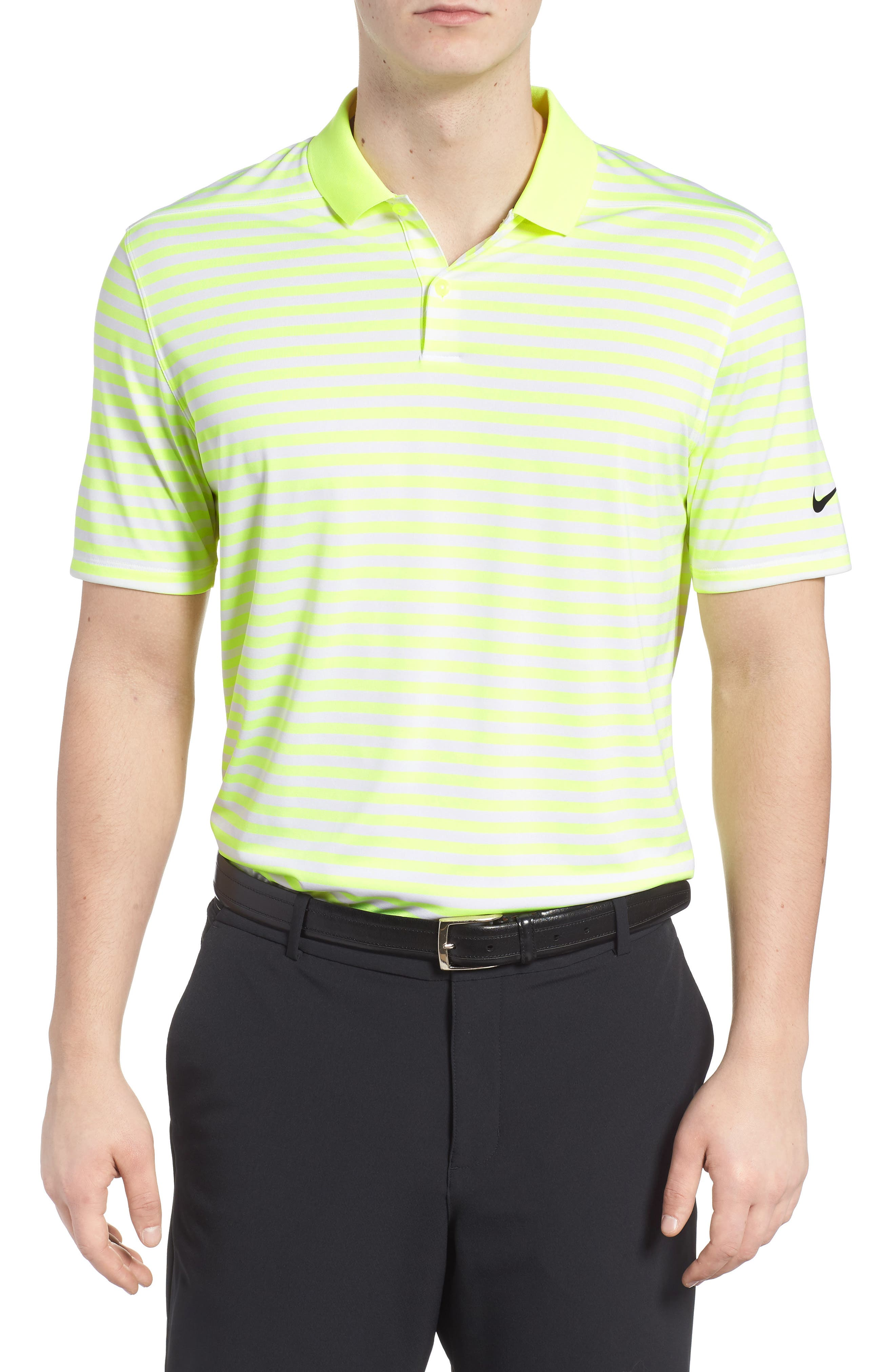 Dry Victory Stripe Golf Polo,                             Main thumbnail 1, color,                             VOLT/ WHITE/ BLACK