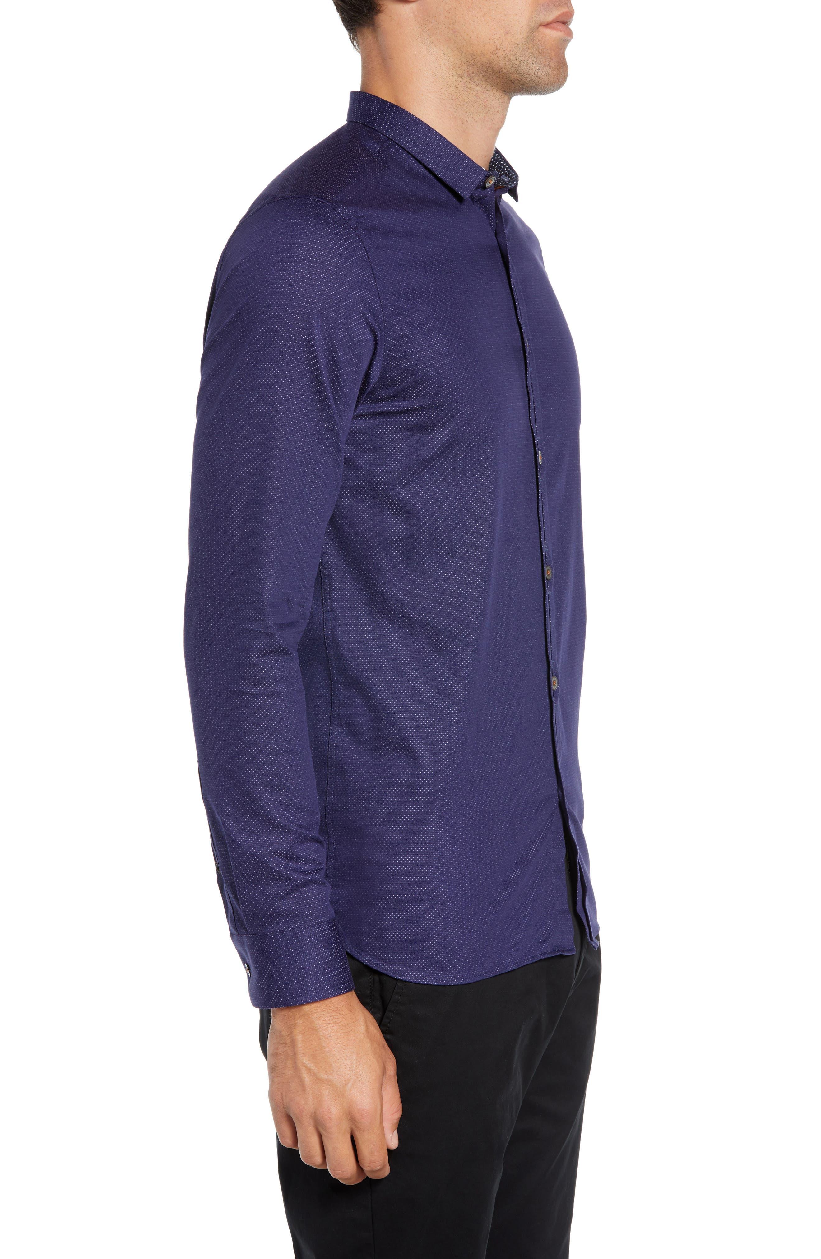 Surrey Q Slim Fit Sport Shirt,                             Alternate thumbnail 4, color,                             NAVY