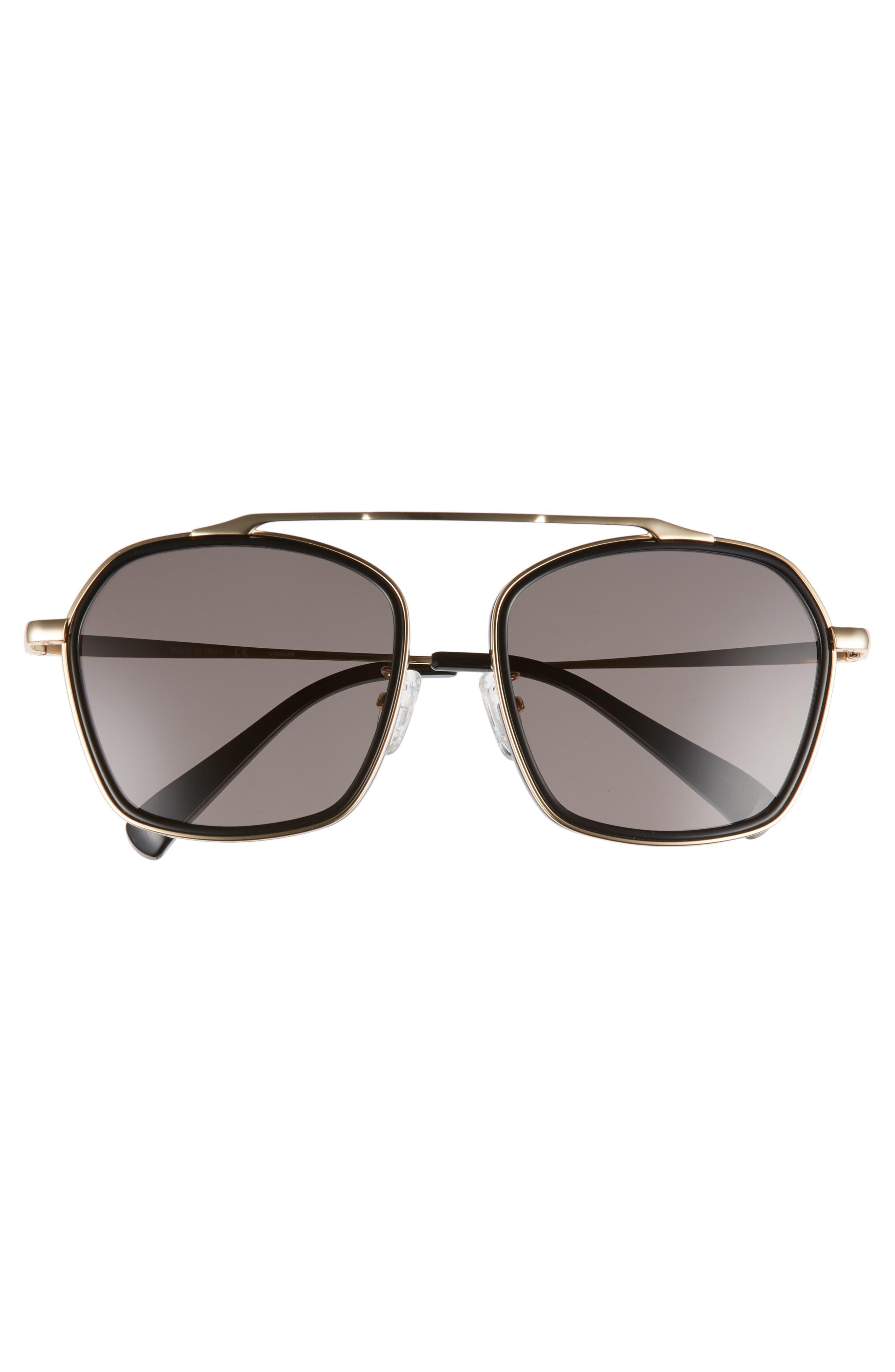 BLANC & ECLARE Vancouver 58mm Polarized Aviator Sunglasses,                             Alternate thumbnail 3, color,                             BLACK/ GOLD/ SMOG GREY