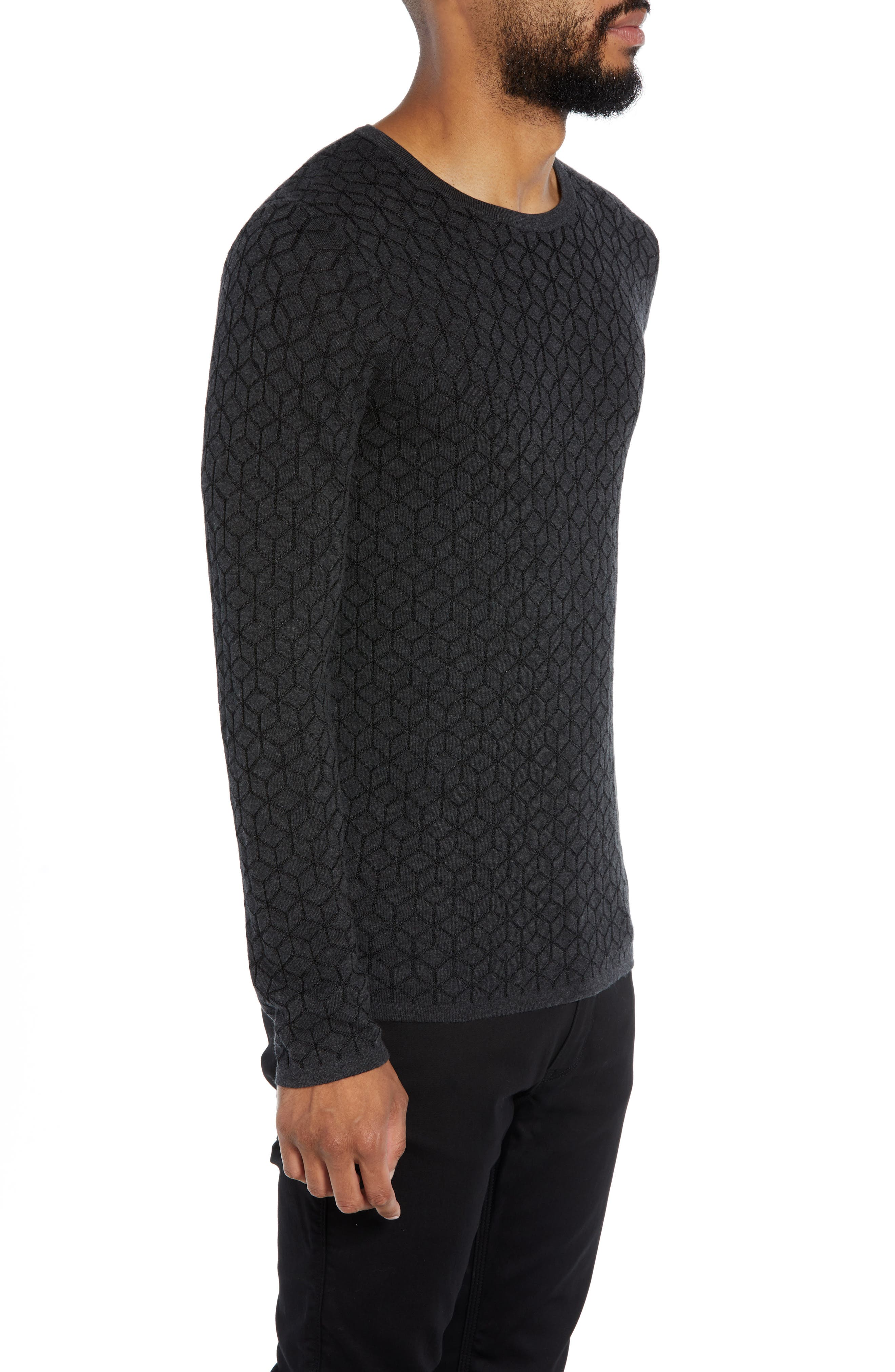 Scuber Slim Fit Diamond Sweater,                             Alternate thumbnail 3, color,                             GREY