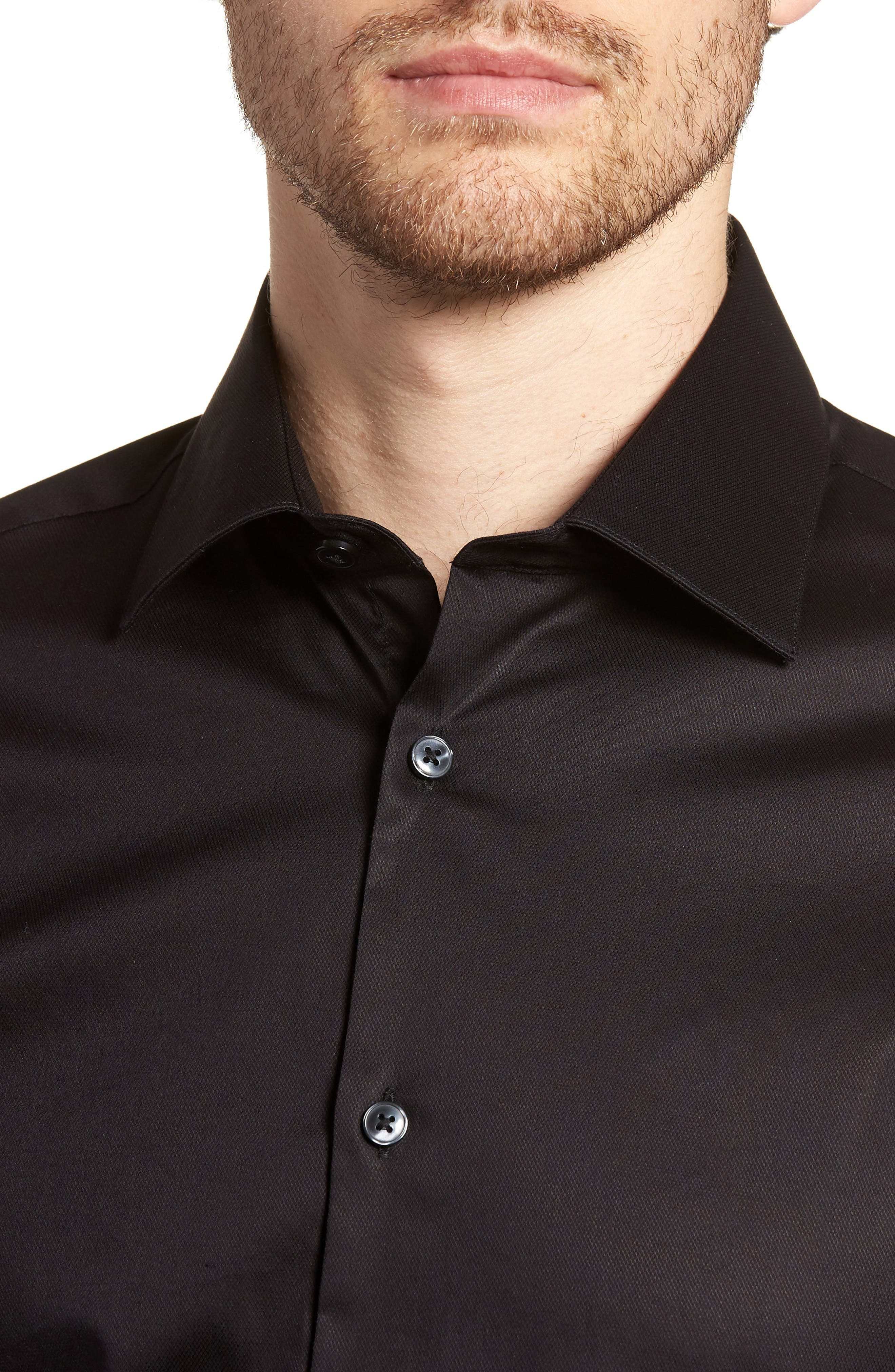 Slim Fit Stretch Solid Dress Shirt,                             Alternate thumbnail 2, color,                             BLACK