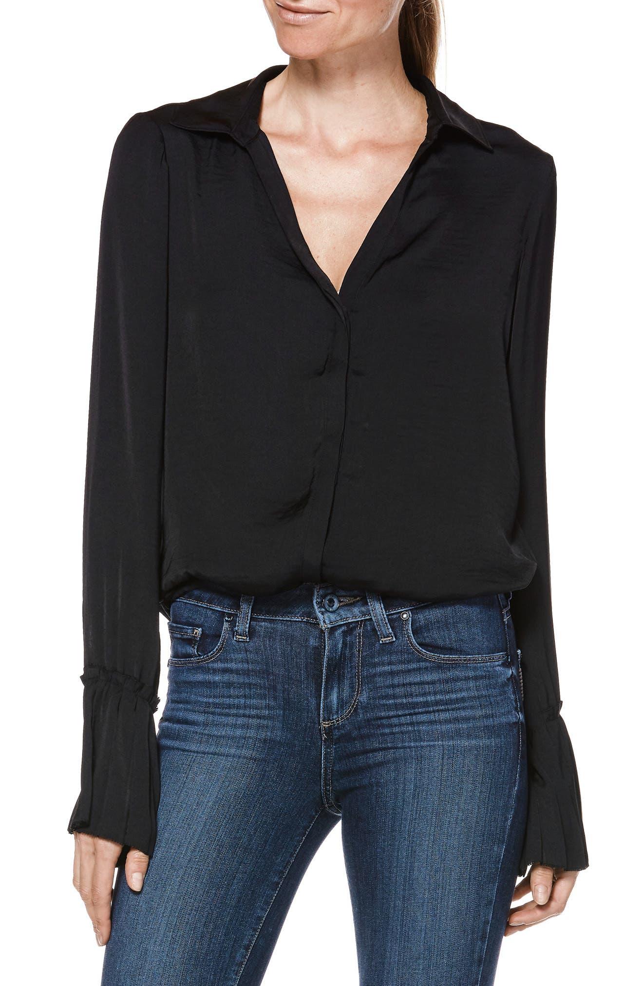 Abriana Shirt,                             Alternate thumbnail 3, color,                             BLACK