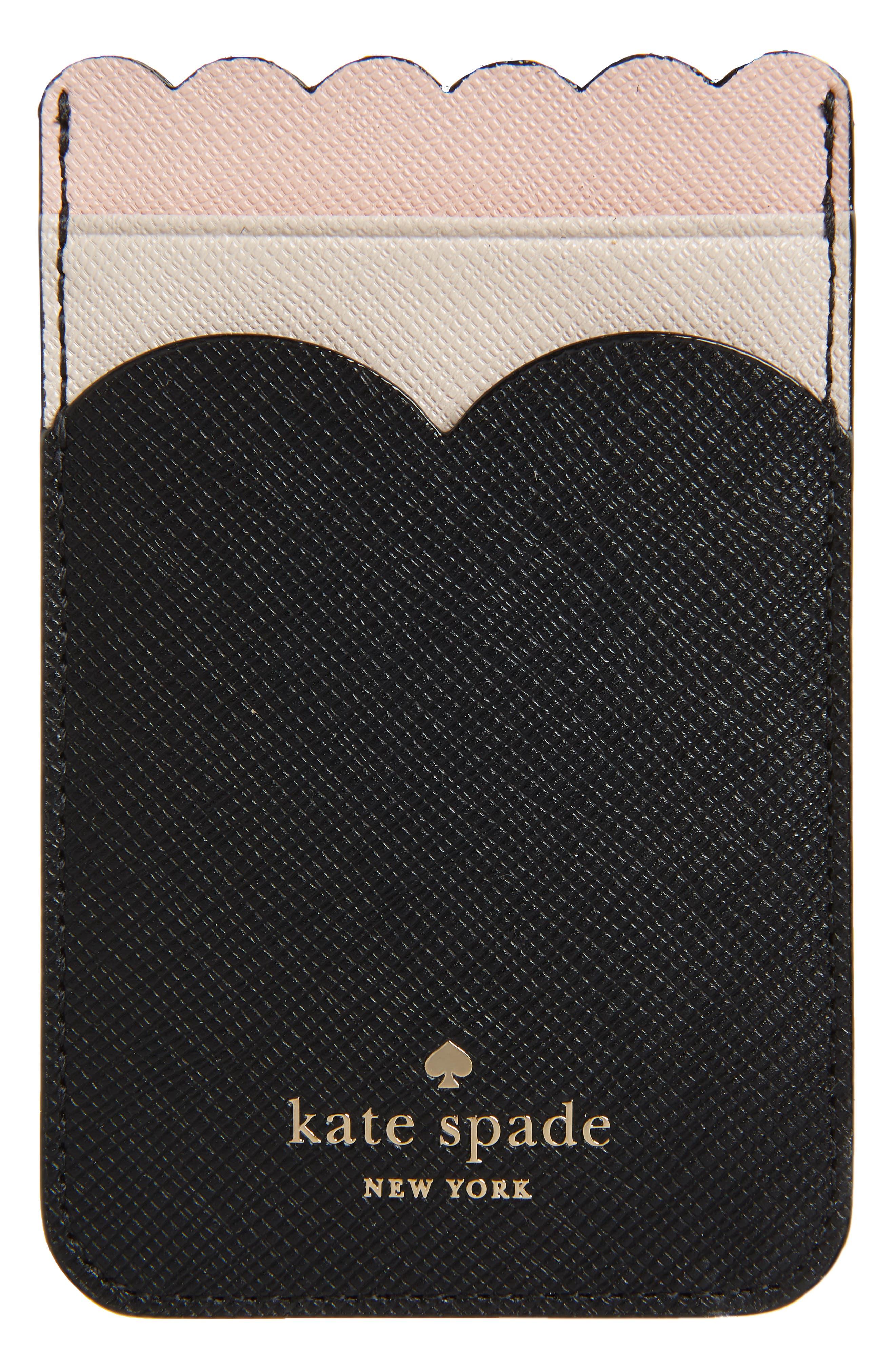 phone triple sticker scalloped glitter pocket,                             Alternate thumbnail 2, color,                             BLACK/ MULTI
