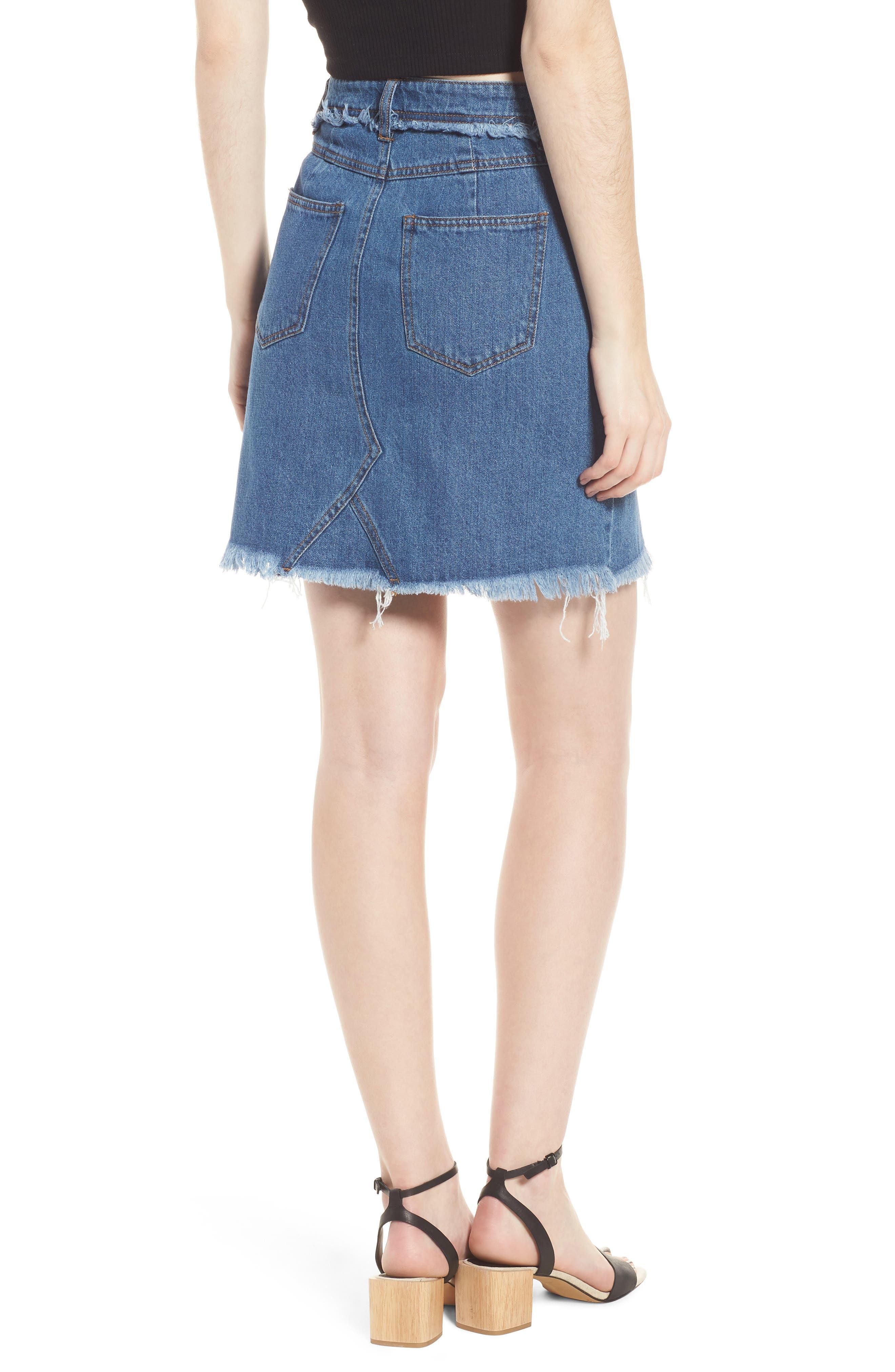 Color Block Denim Skirt,                             Alternate thumbnail 2, color,                             419