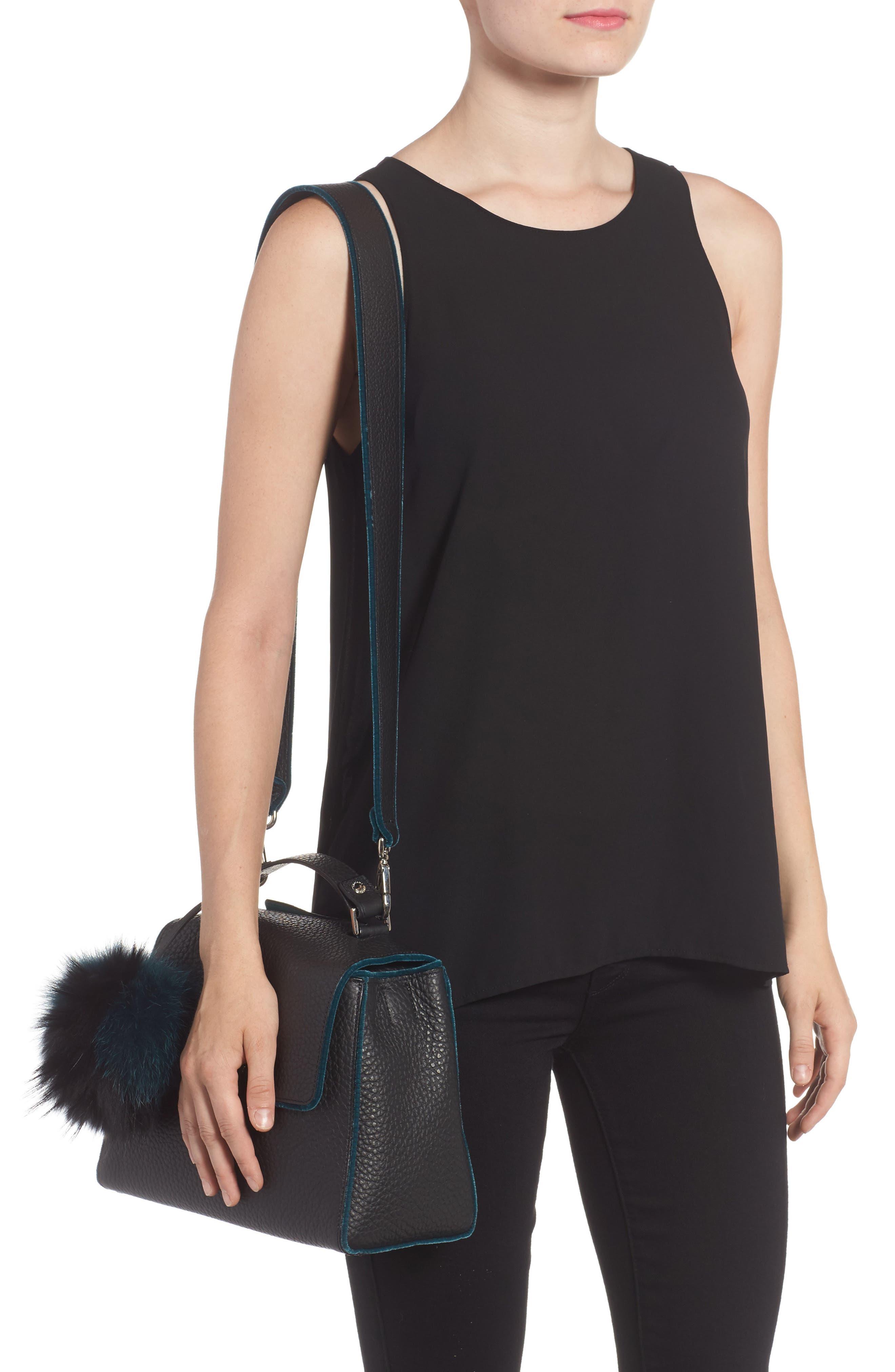Small Sveva Soft Leather Top Handle Satchel with Genuine Fur Bag Charm,                             Alternate thumbnail 2, color,                             300