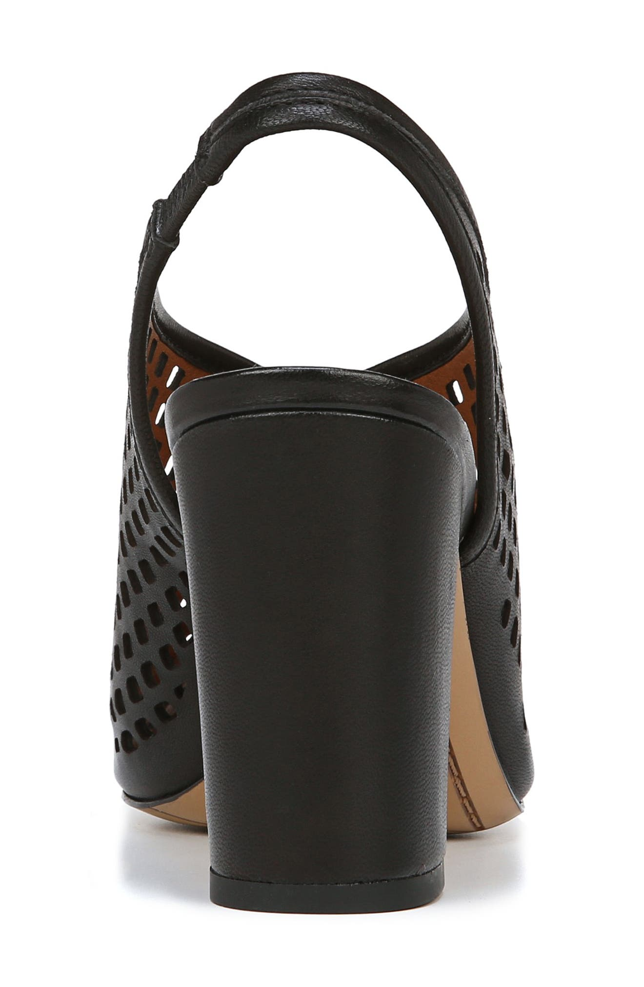 Osbourne Perforated Slingback Sandal,                             Alternate thumbnail 7, color,                             BLACK LEATHER