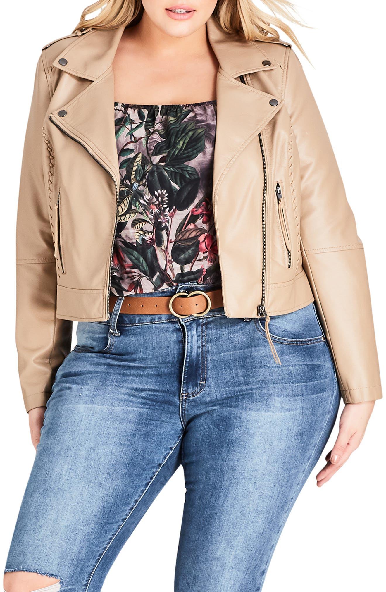Whipstitched Biker Jacket,                         Main,                         color, TAN