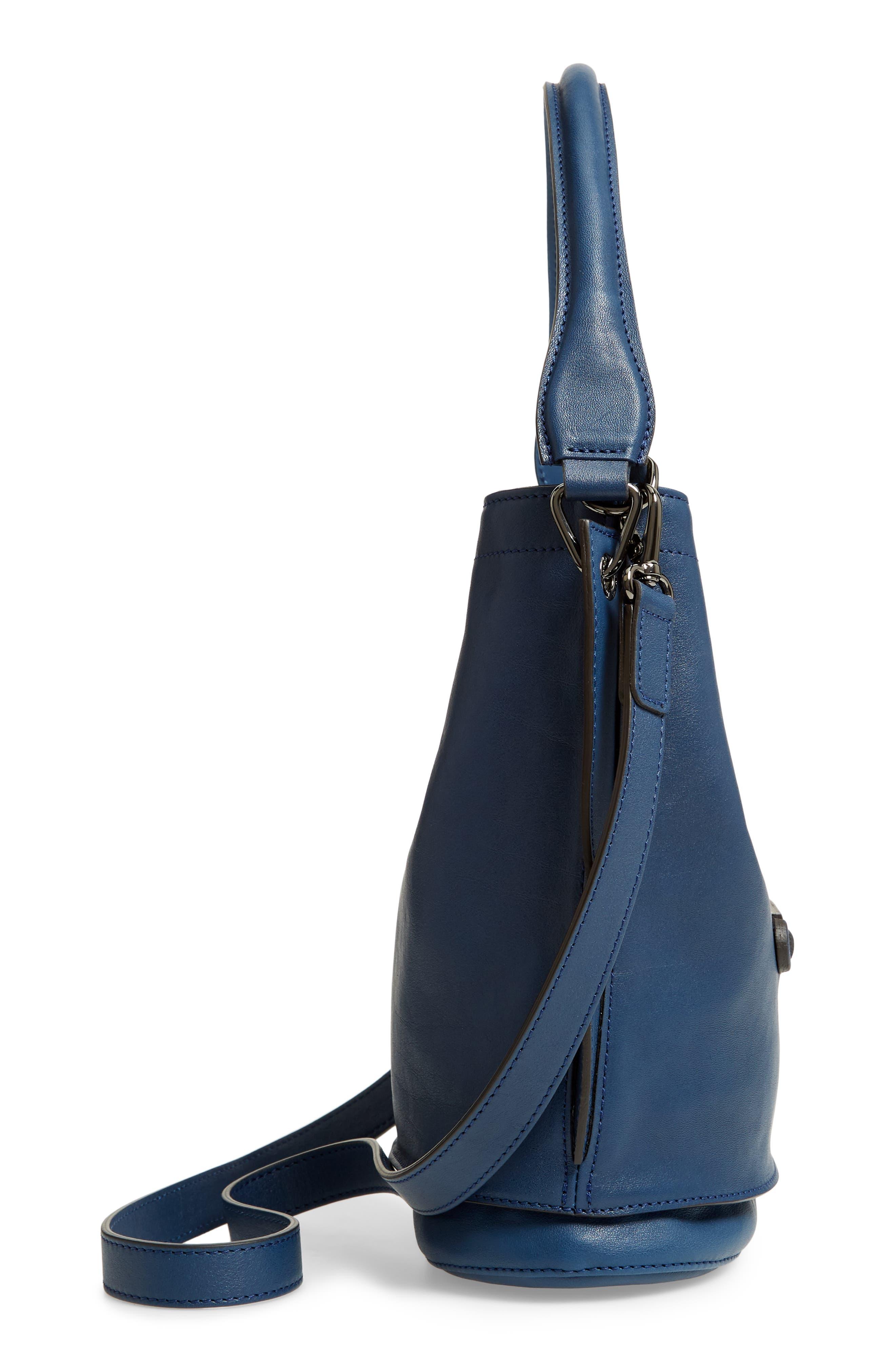 3D Leather Bucket Bag,                             Alternate thumbnail 5, color,                             PILOT BLUE