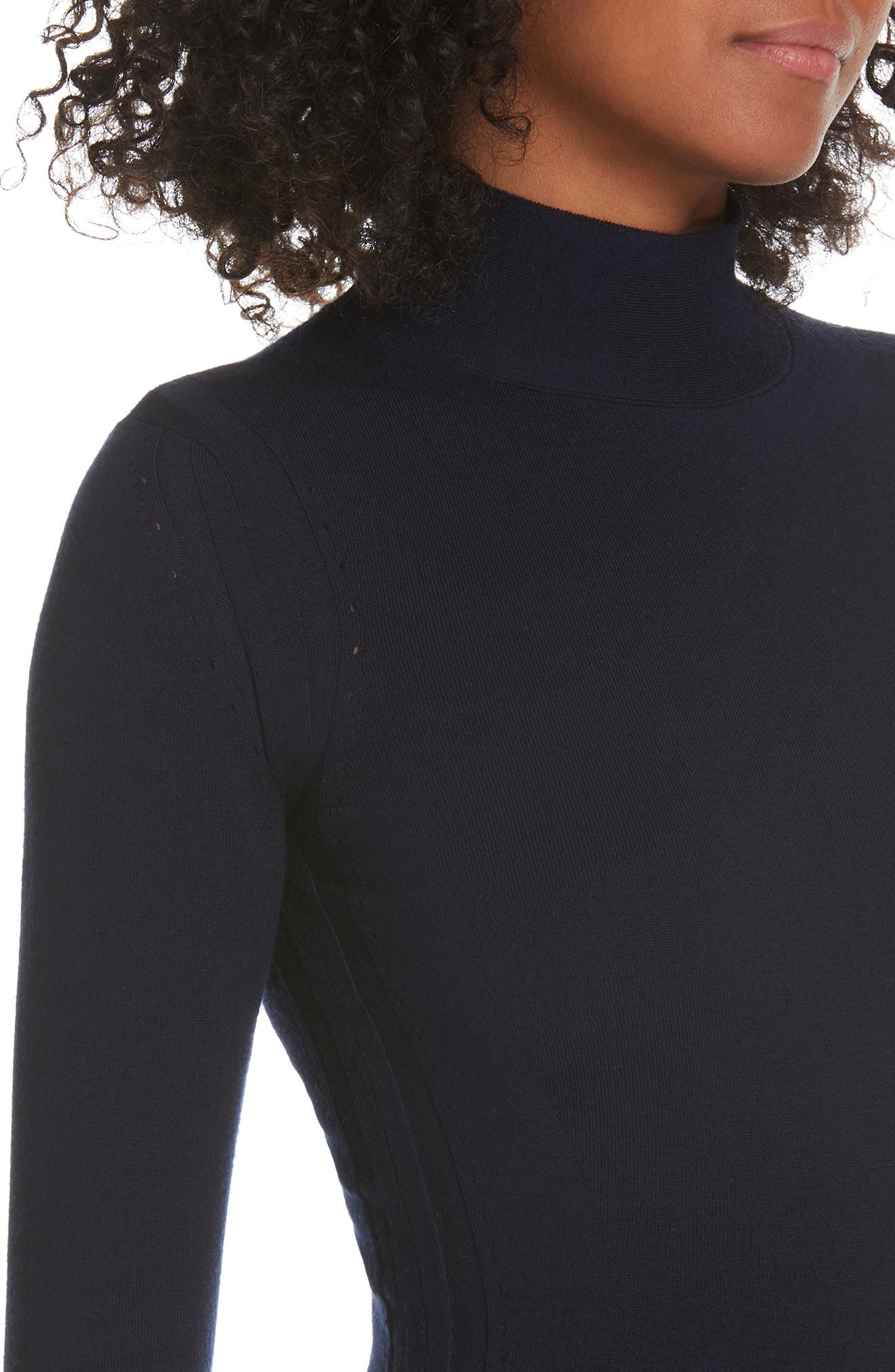 Fitted Merino Wool Blend Shell,                             Alternate thumbnail 4, color,                             DEEP NAVY