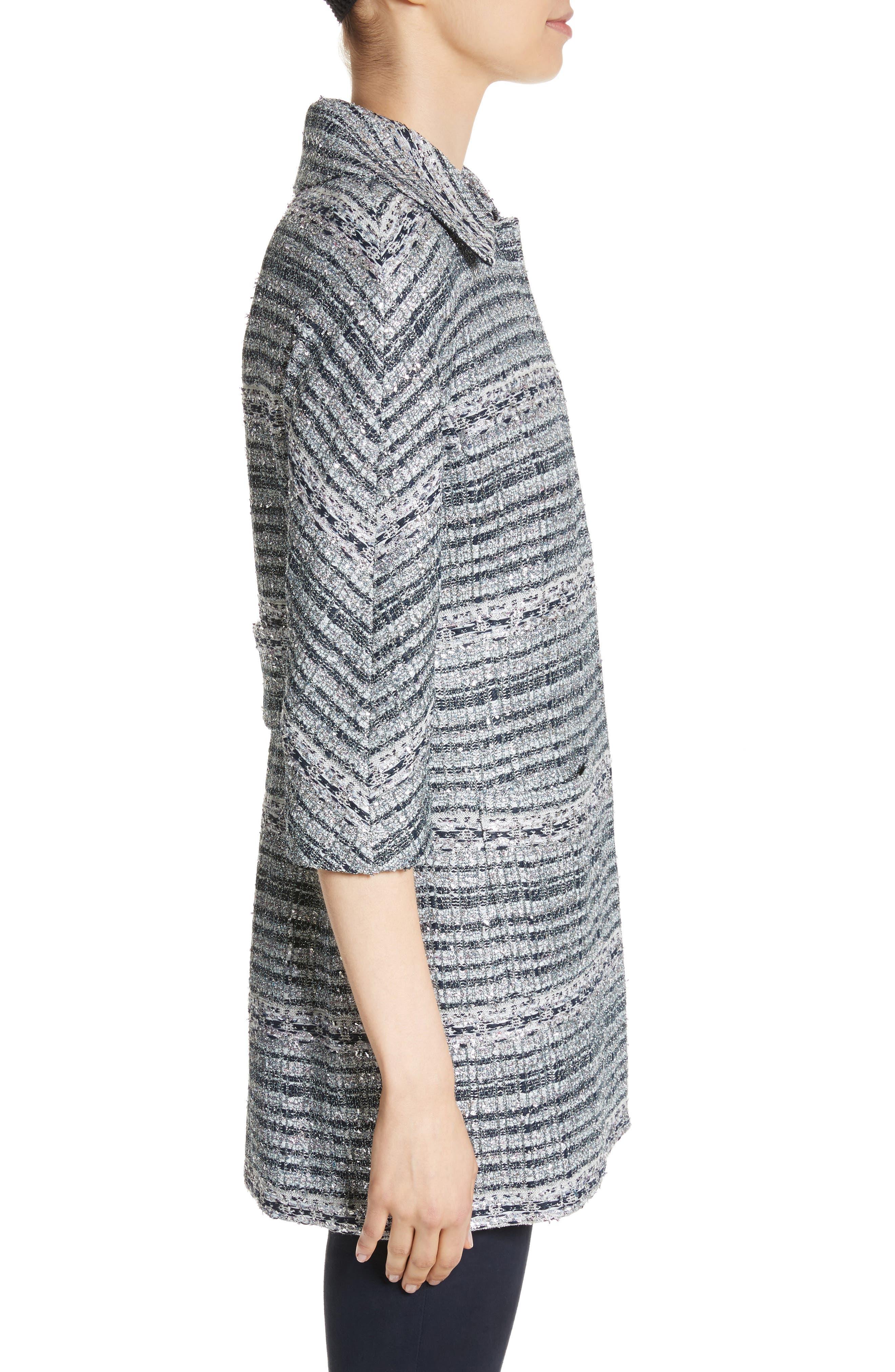 Lacquered Metallic Ribbon Knit Jacket,                             Alternate thumbnail 3, color,
