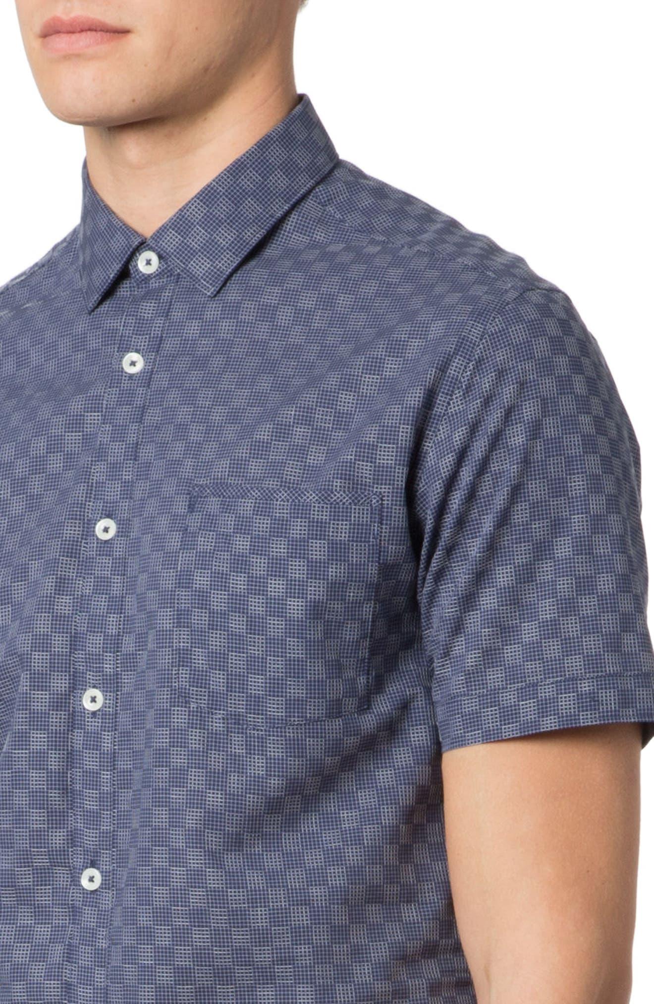 Trim Fit Graph Print Sport Shirt,                             Alternate thumbnail 4, color,                             NAVY