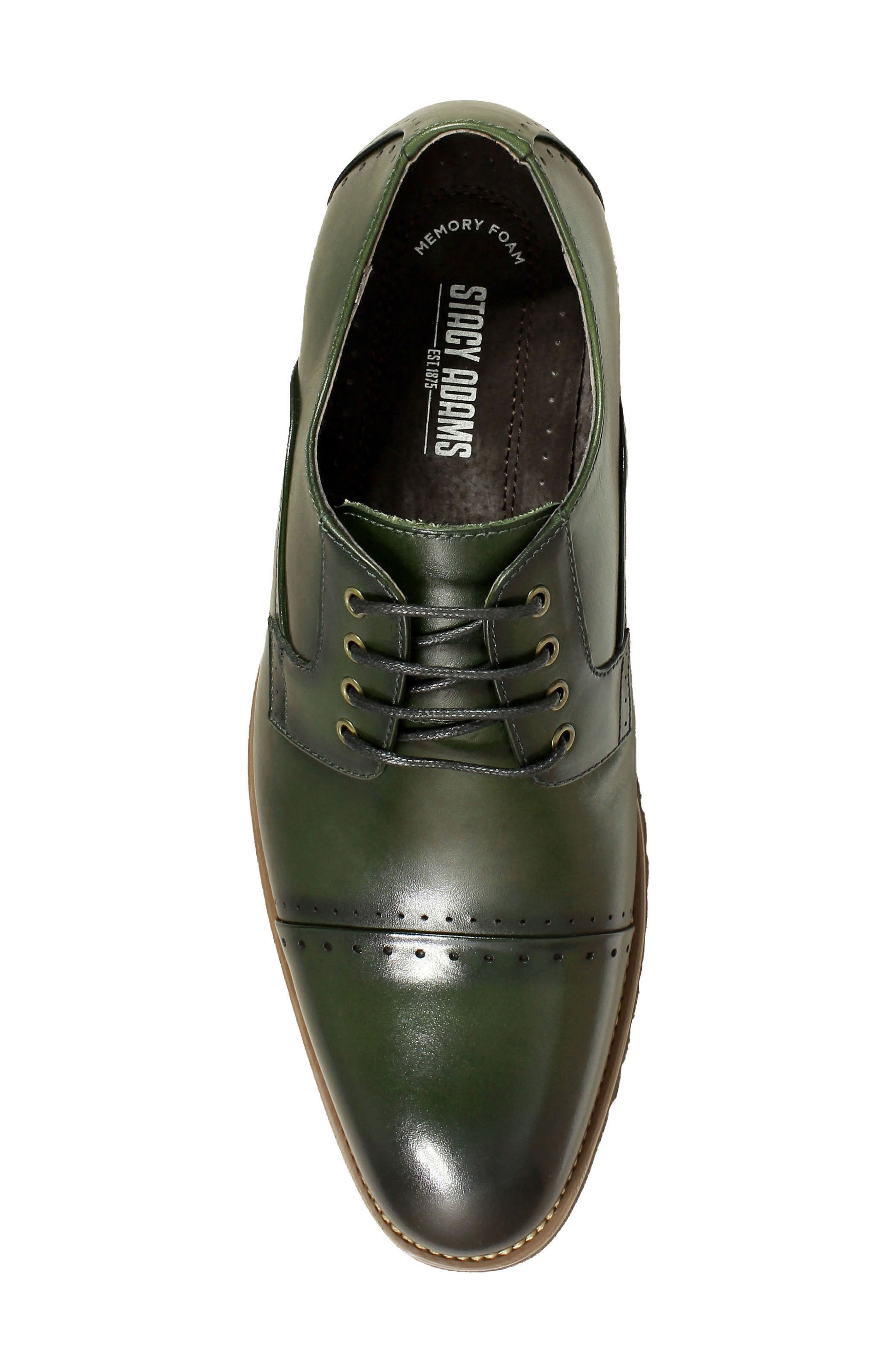Barcliff Cap Toe Derby,                             Alternate thumbnail 5, color,                             CARGO GREEN LEATHER