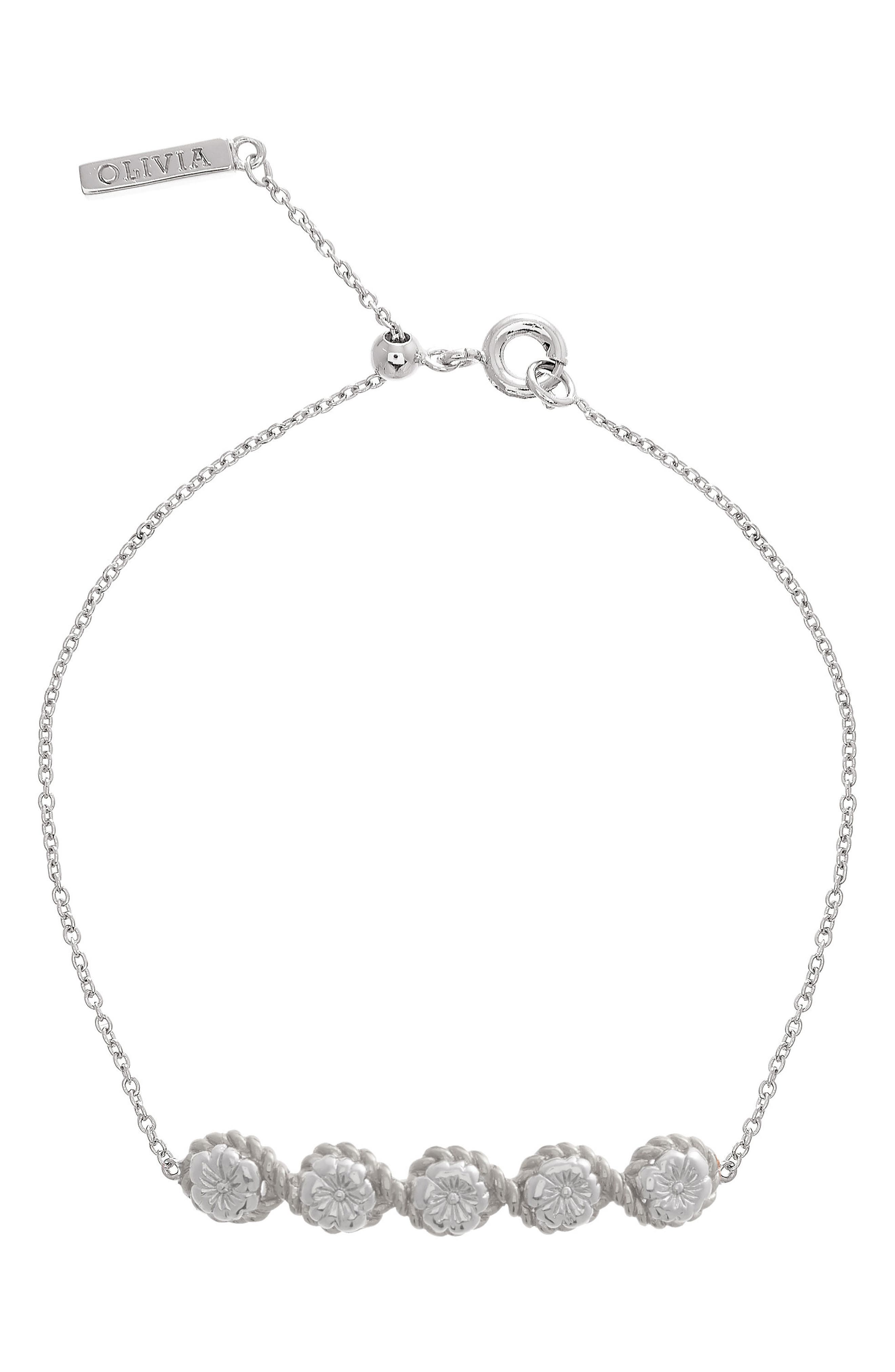 Flower Show Rope Chain Bracelet,                             Main thumbnail 1, color,                             SILVER