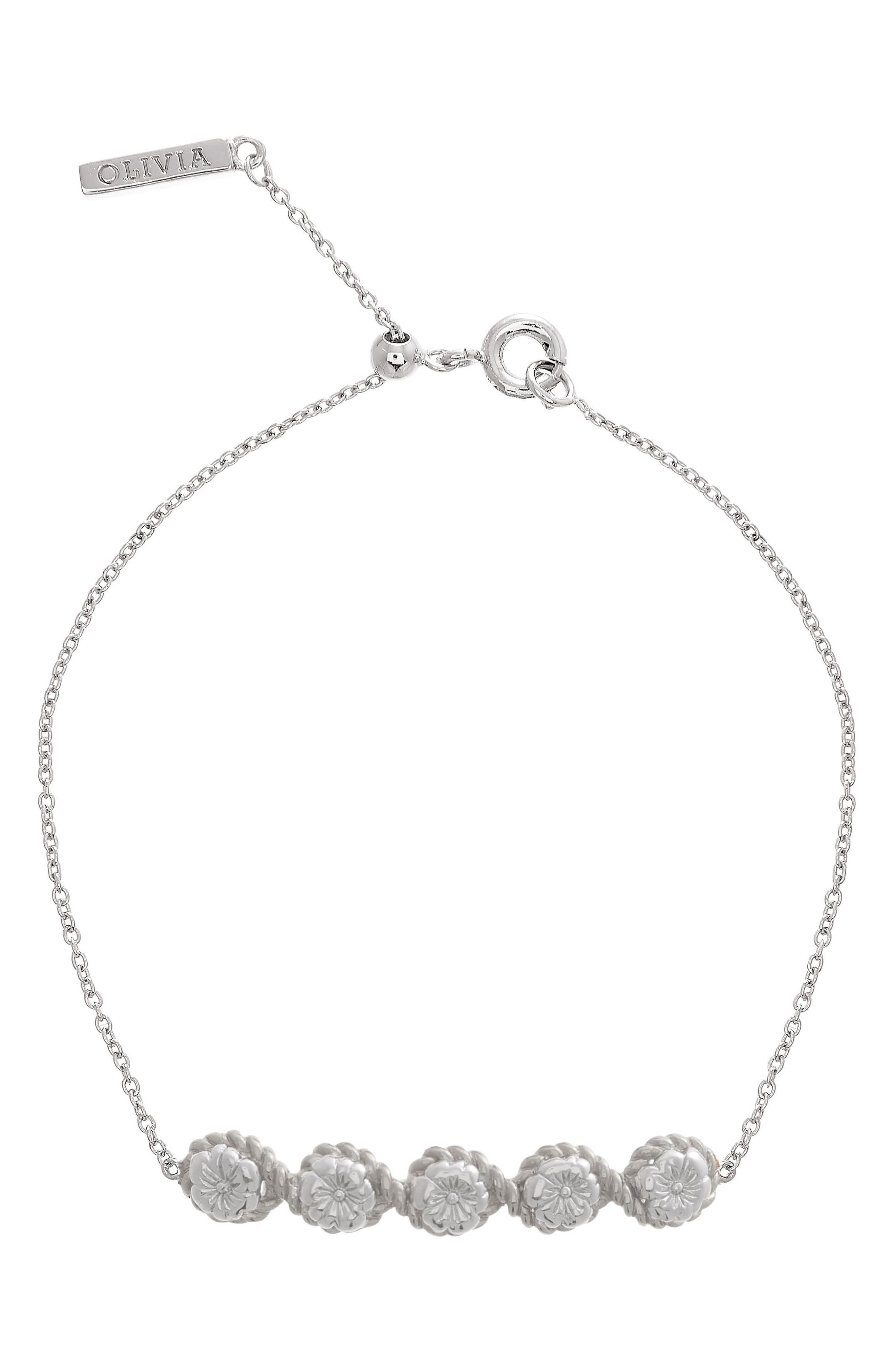 Flower Show Rope Chain Bracelet,                         Main,                         color, SILVER