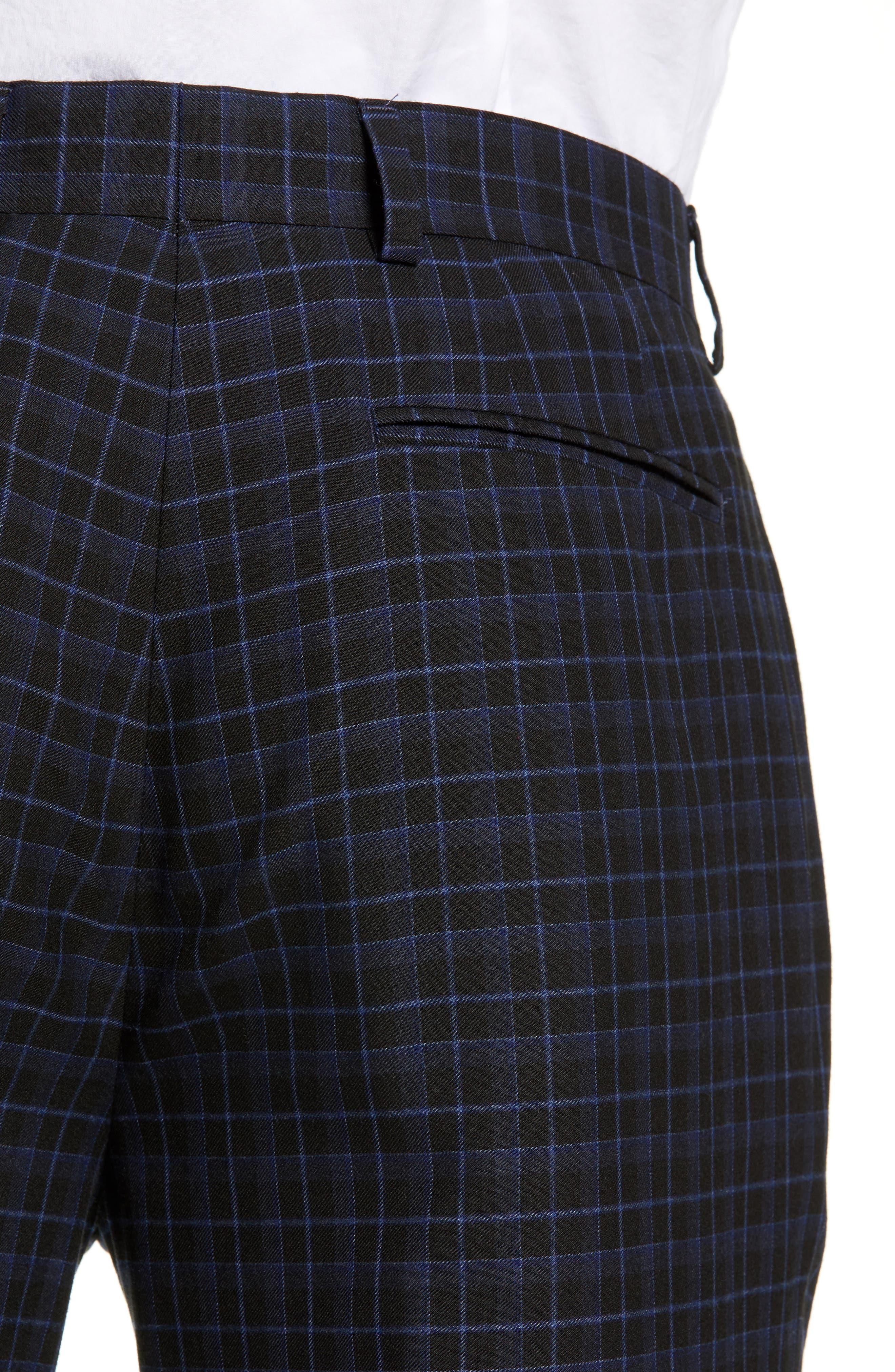 Alsager Slim Fit Check Suit Pants,                             Alternate thumbnail 4, color,                             021