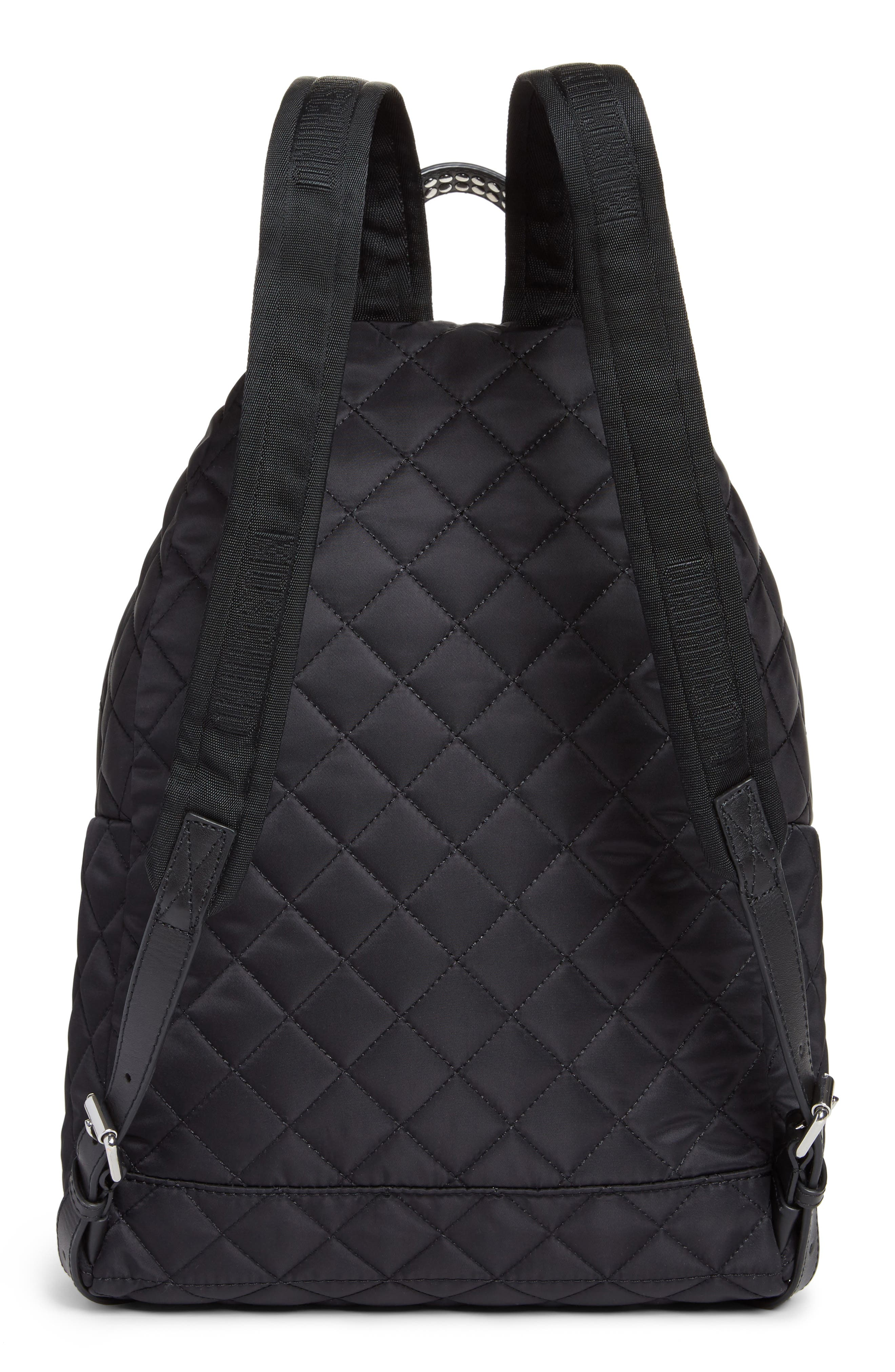 Studded Logo Quilted Nylon Backpack,                             Alternate thumbnail 3, color,                             115