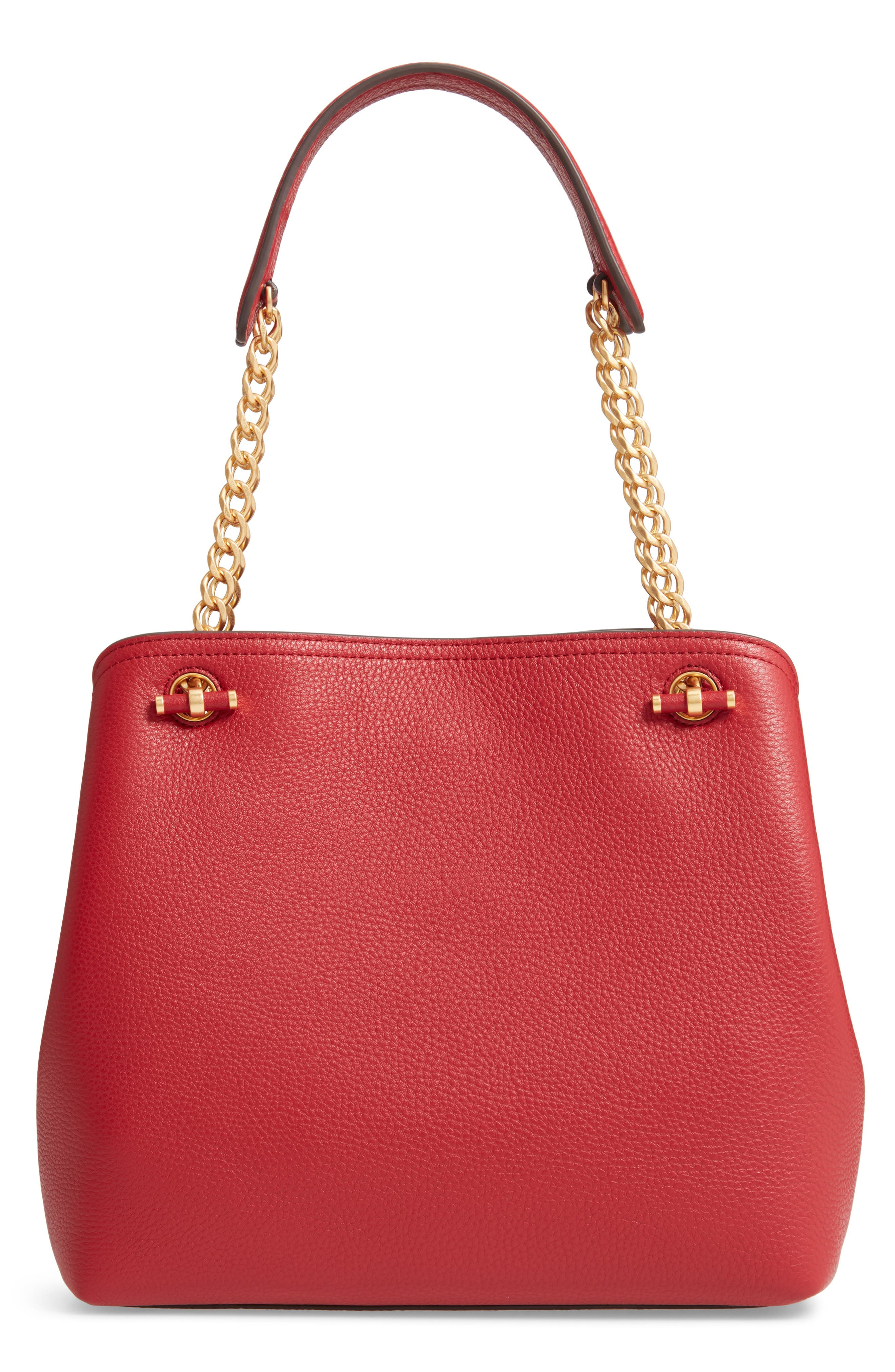 Small Chelsea Leather Tote,                             Alternate thumbnail 3, color,                             REDSTONE