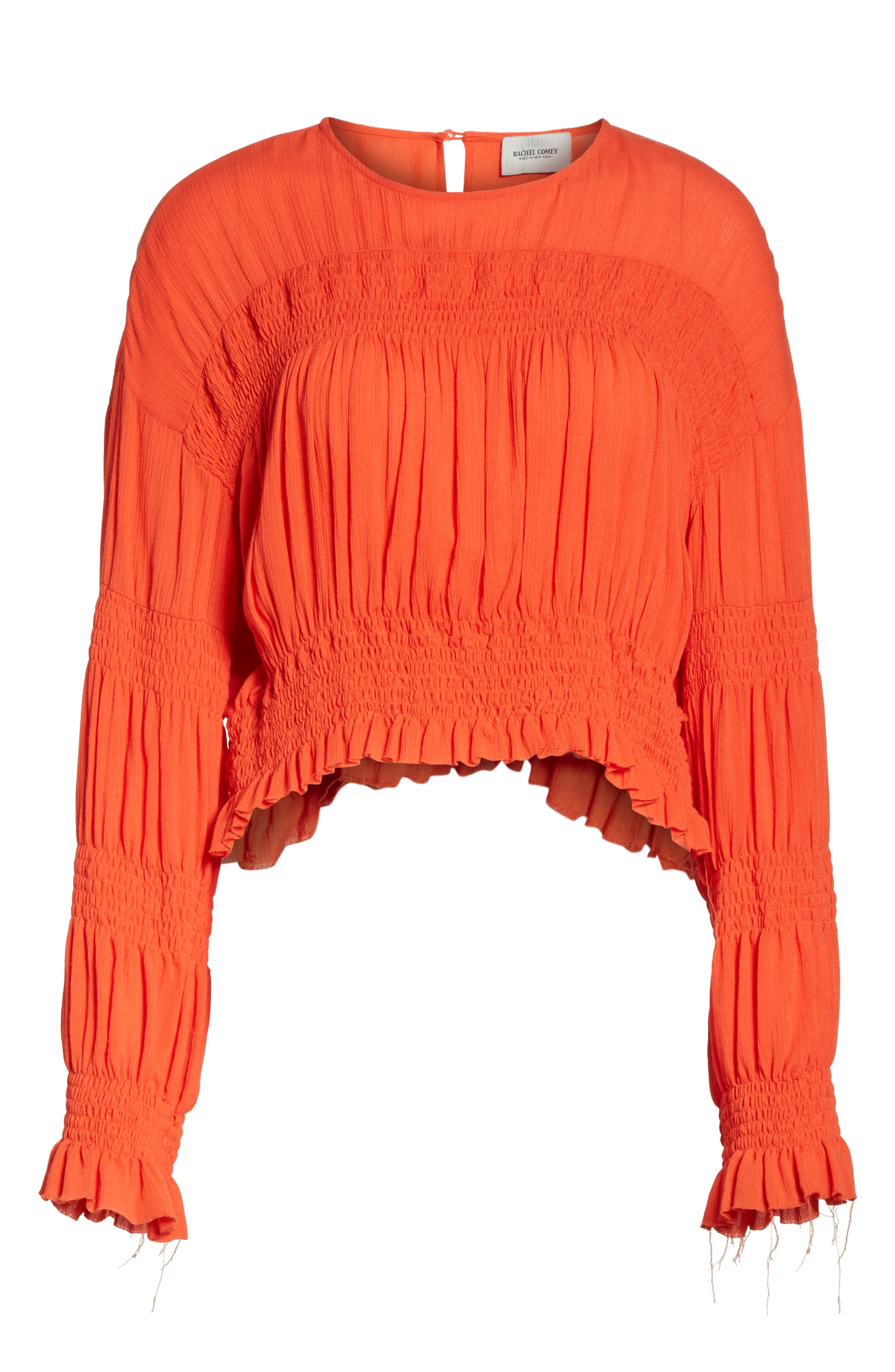Penta Smocked Blouse,                             Alternate thumbnail 6, color,                             CORAL