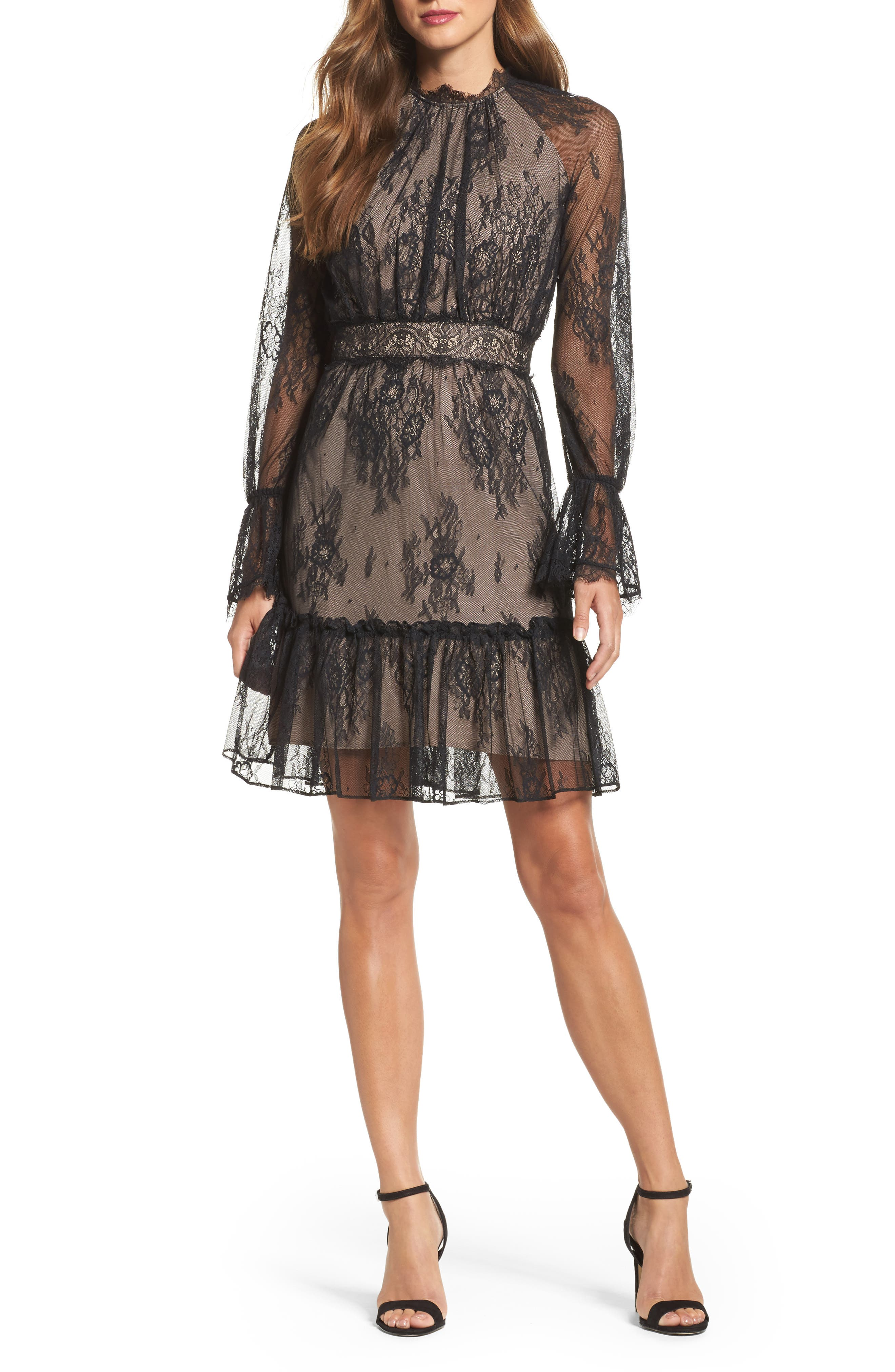 Floral Medallion Lace Fit & Flare Dress,                             Main thumbnail 1, color,                             010