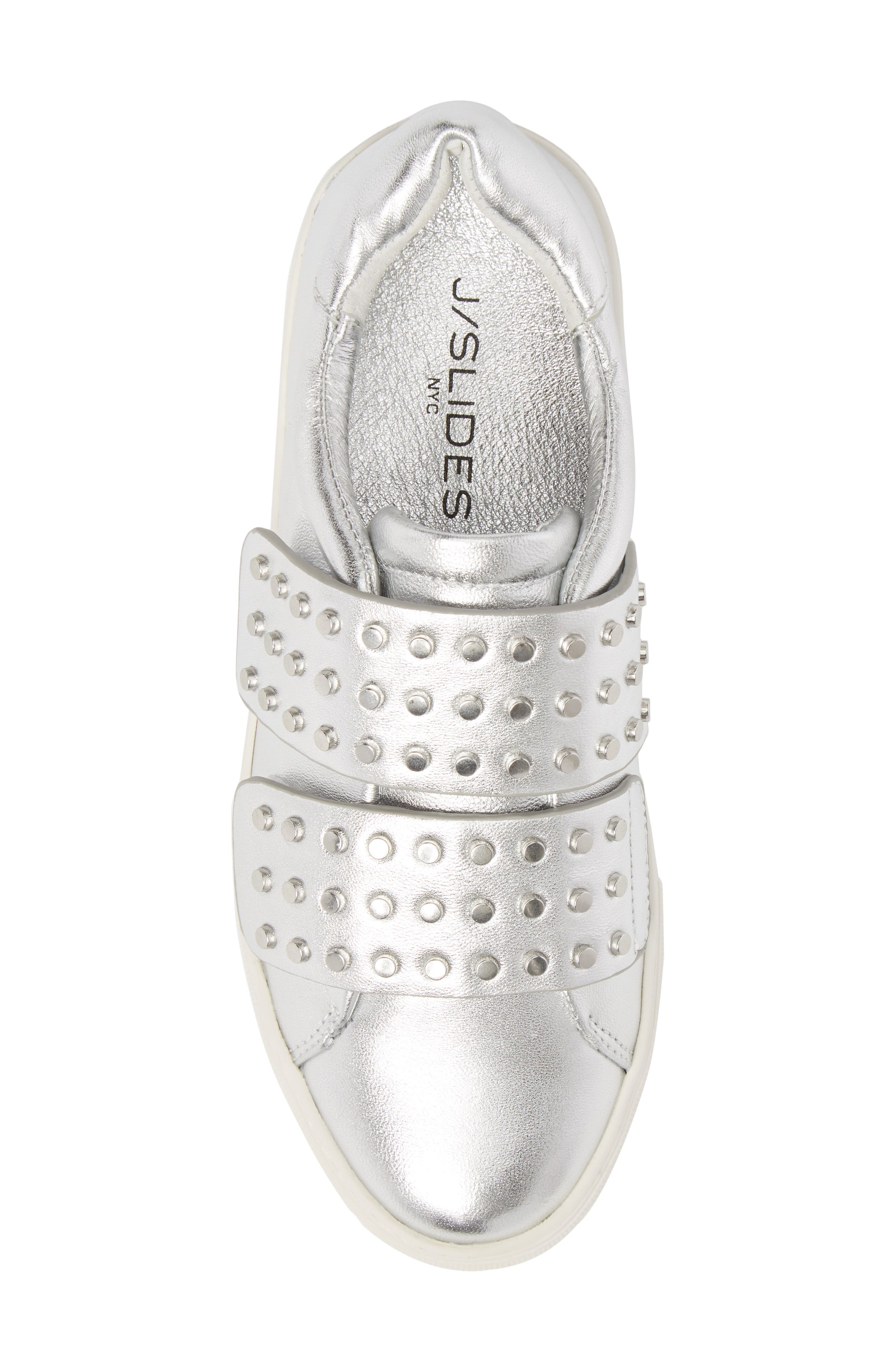 Accent Slip-On Sneaker,                             Alternate thumbnail 5, color,                             SILVER METALLIC LEATHER