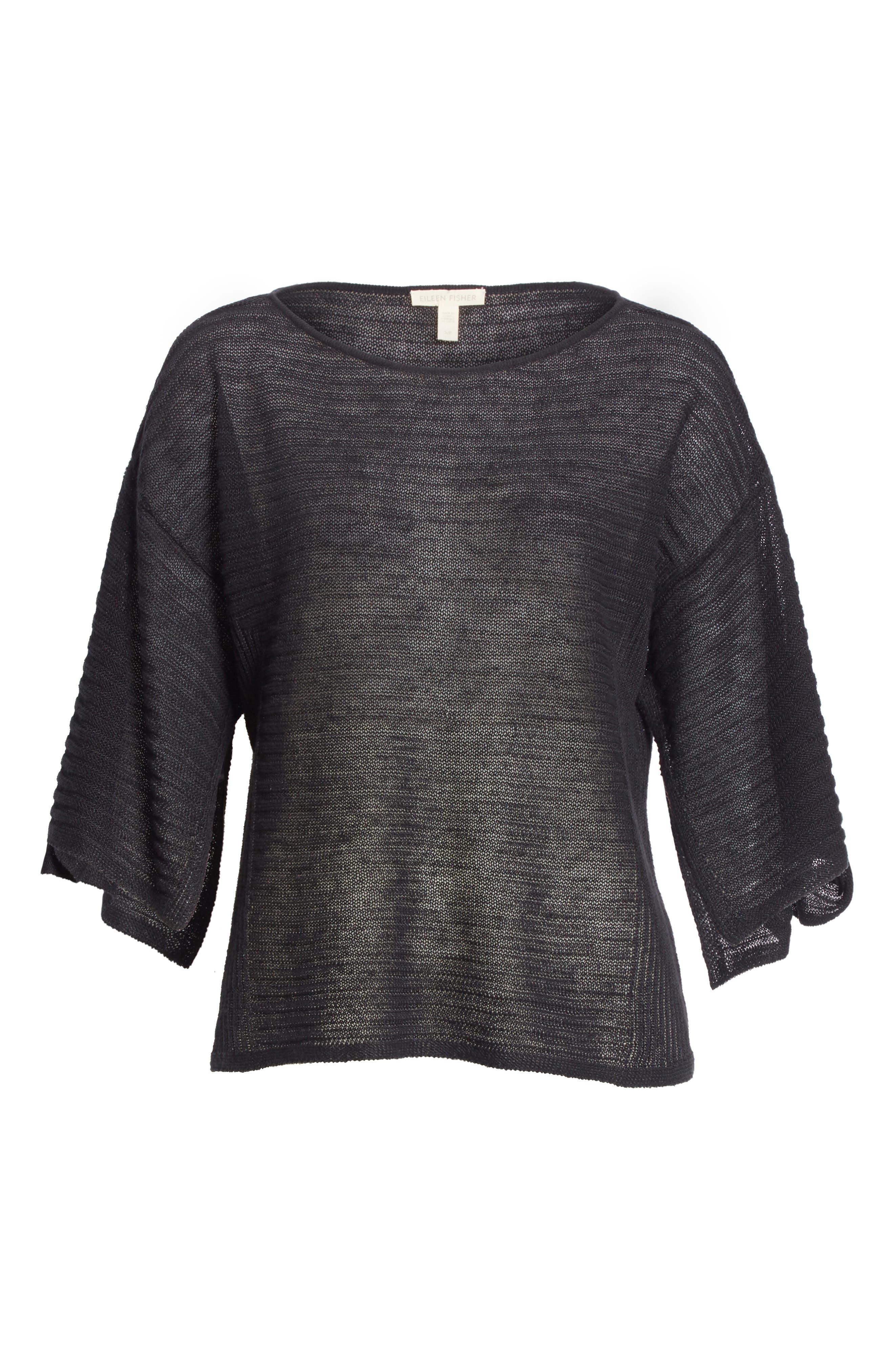 Slit Sleeve Organic Linen Sweater,                             Alternate thumbnail 6, color,                             001
