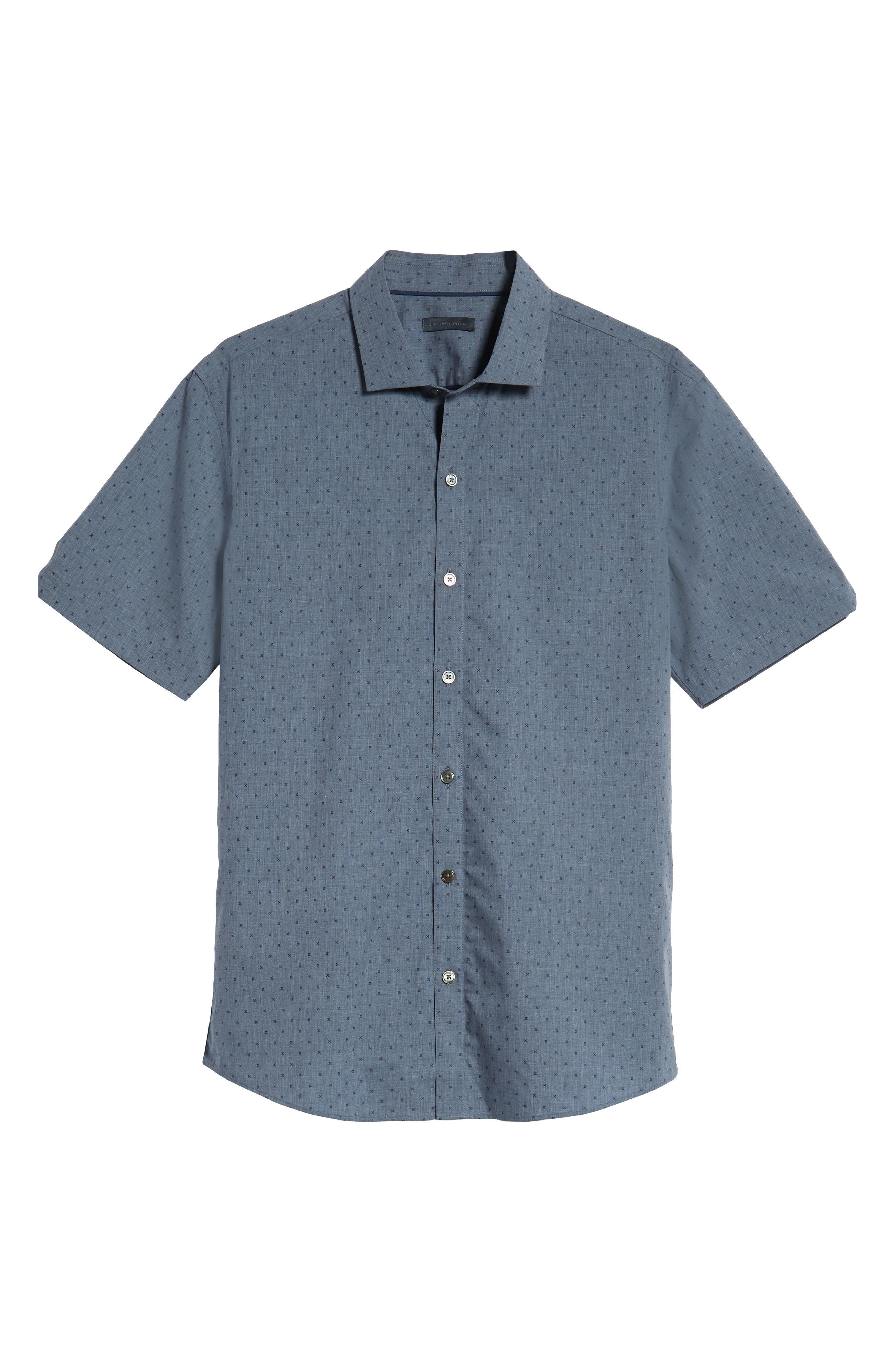 Huang Regular Fit Dobby Sport Shirt,                             Alternate thumbnail 5, color,                             DENIM