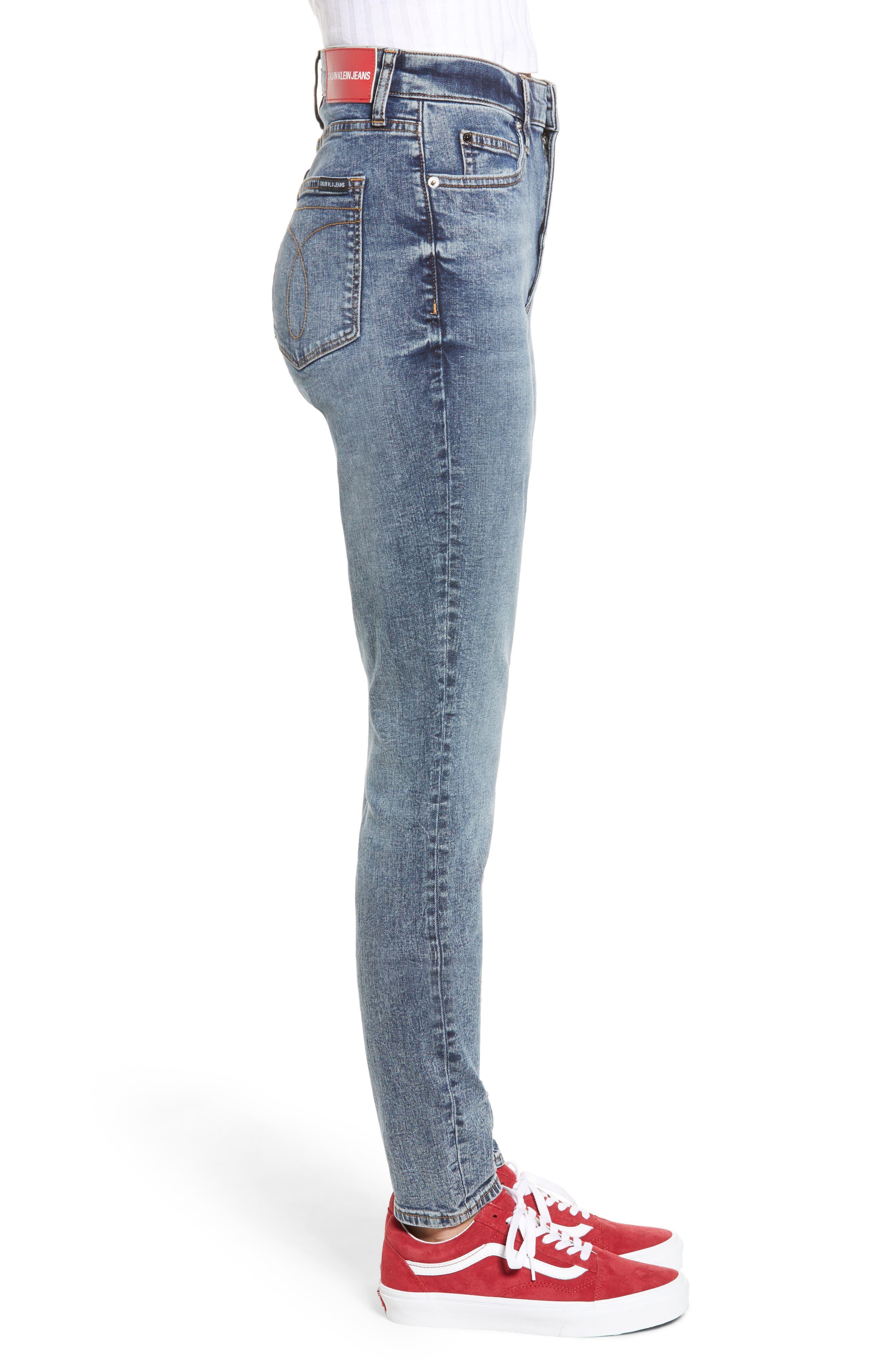 High Waist Skinny Jeans,                             Alternate thumbnail 3, color,                             400